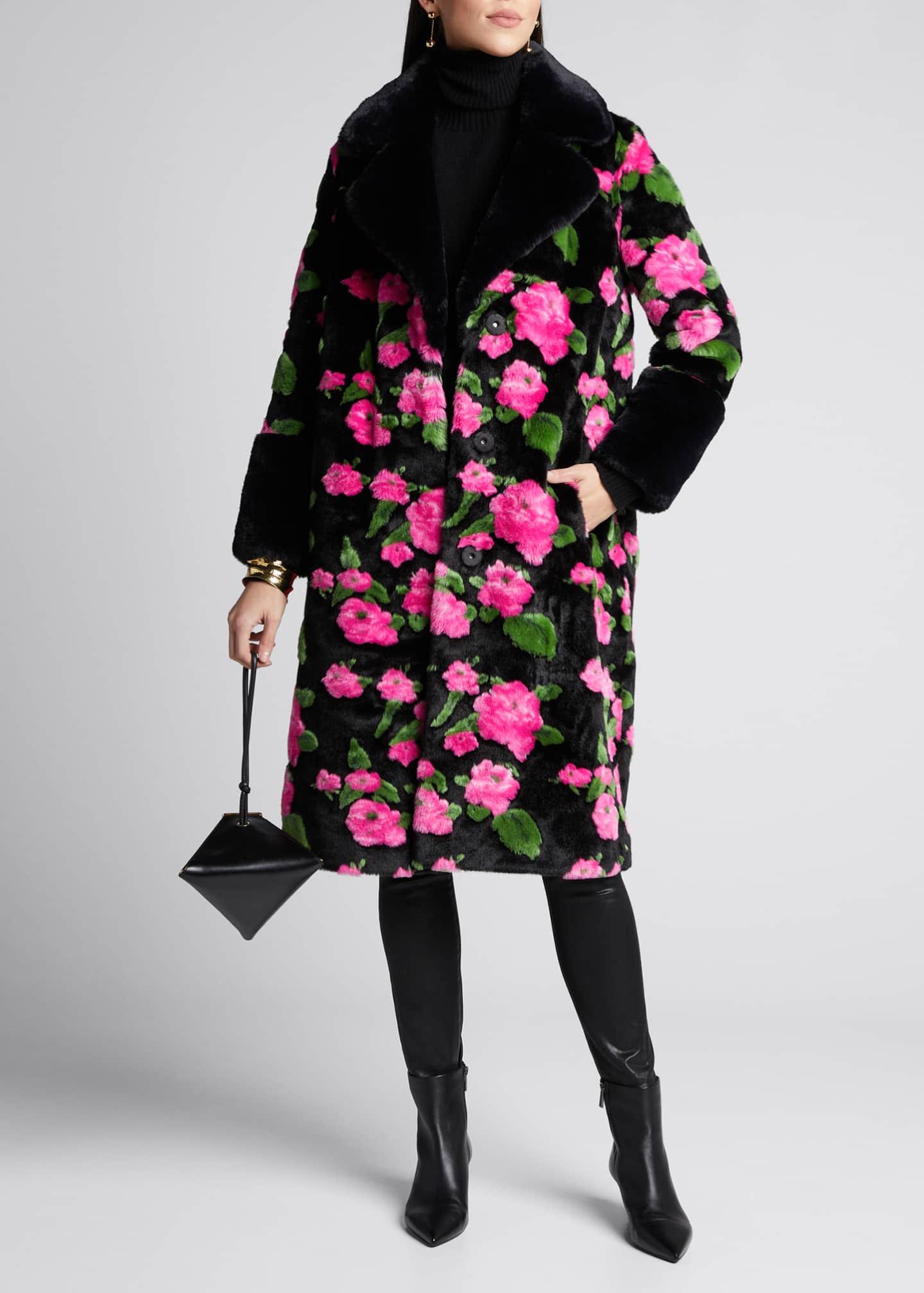 STAND Liliana Long Floral Faux Fur Coat