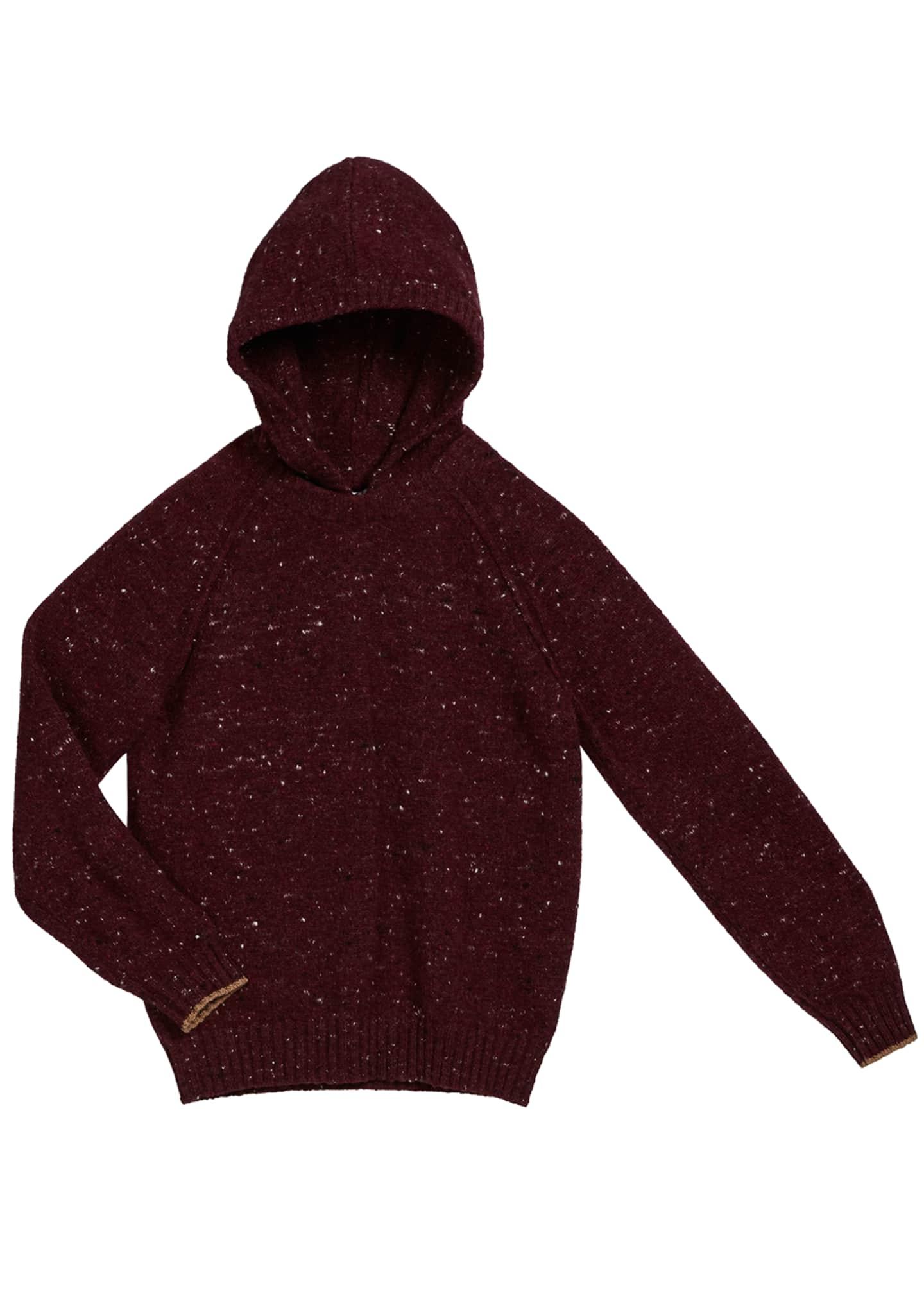 Brunello Cucinelli Boy's Speckled Tweed Hooded Sweater, Size