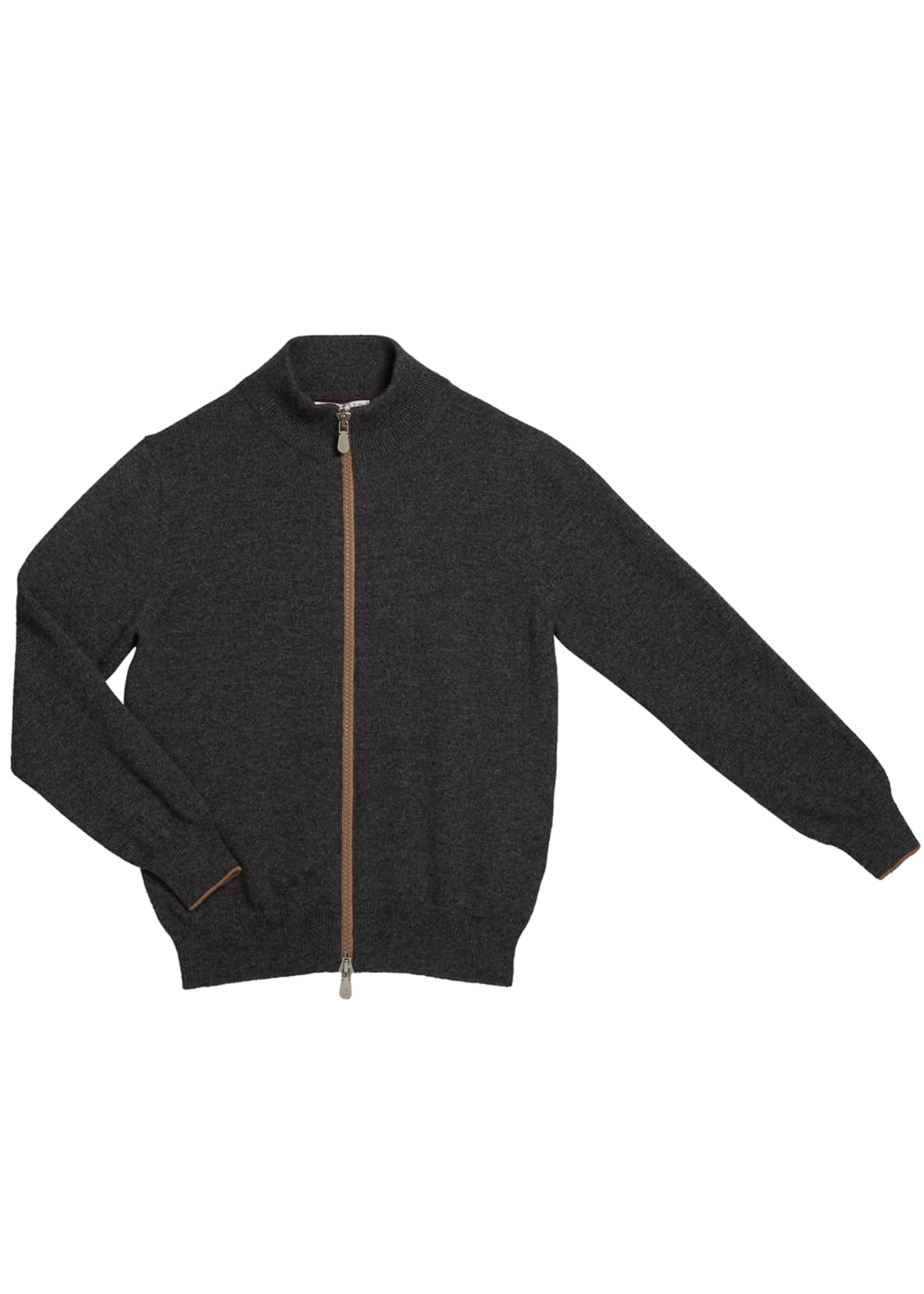 Brunello Cucinelli Boy's Zip-Front Cashmere Cardigan, Size 4-6
