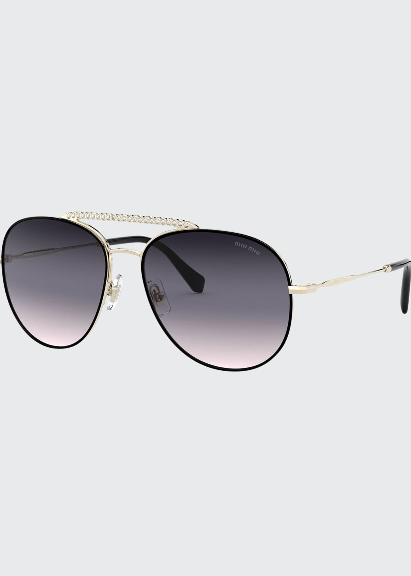 Miu Miu Mirrored Metal Aviator Sunglasses