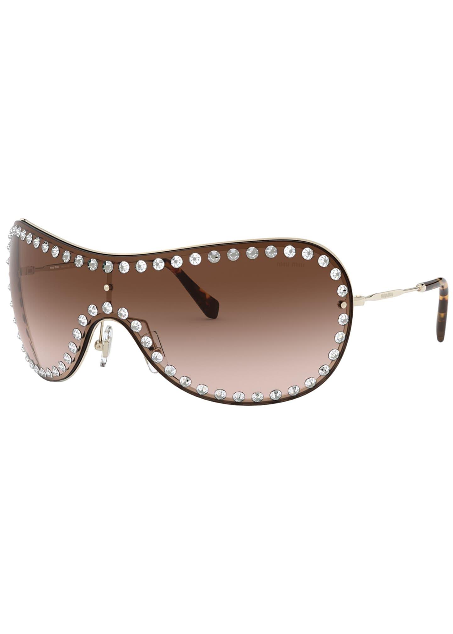 Miu Miu Wrap Shield Sunglasses w/ Crystal Trim
