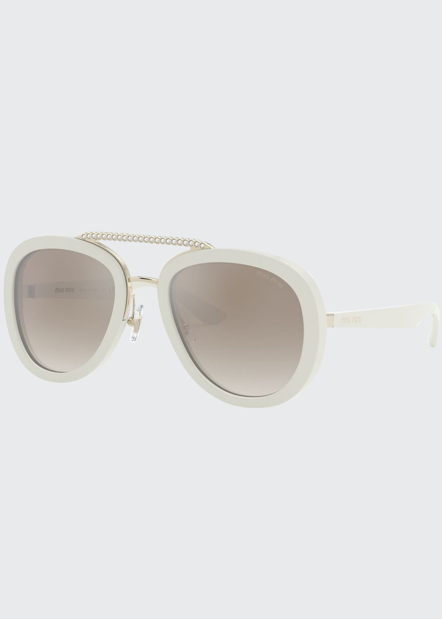 Miu Miu Mirror Acetate Aviator Sunglasses