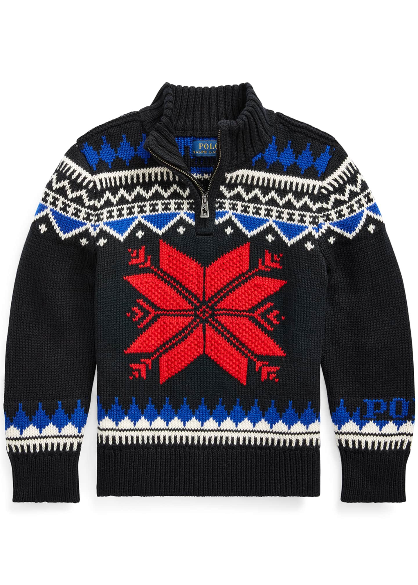 Ralph Lauren Childrenswear Boy's Fair Isle Knit Quarter-Zip