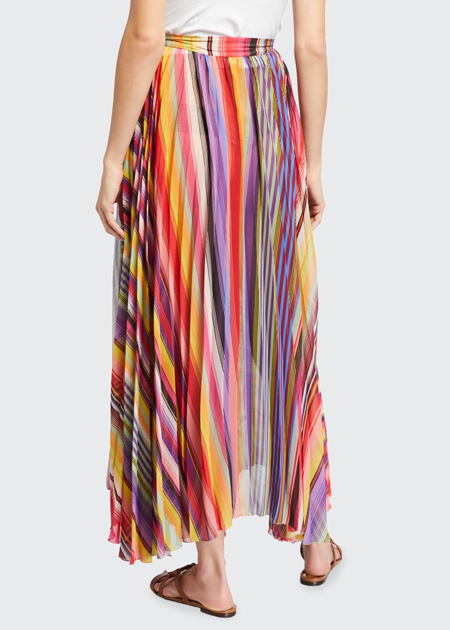 Image 2 of 3: Pleated Rainbow Maxi Skirt