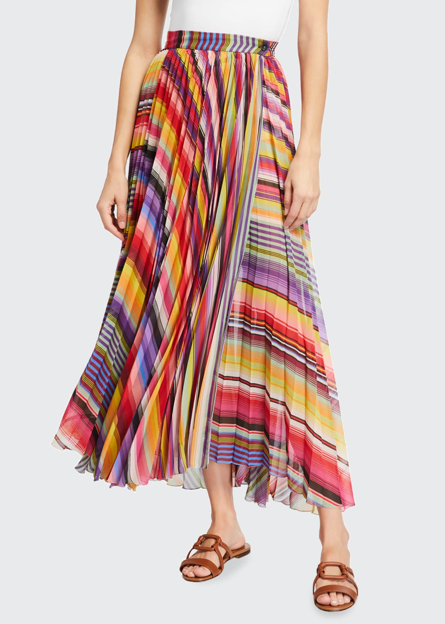 Image 3 of 3: Pleated Rainbow Maxi Skirt