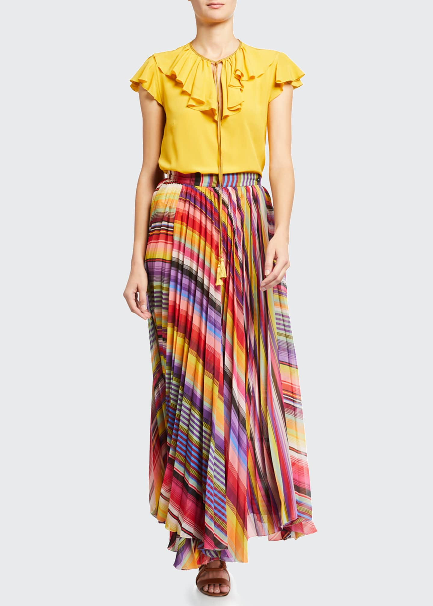 Image 1 of 3: Pleated Rainbow Maxi Skirt