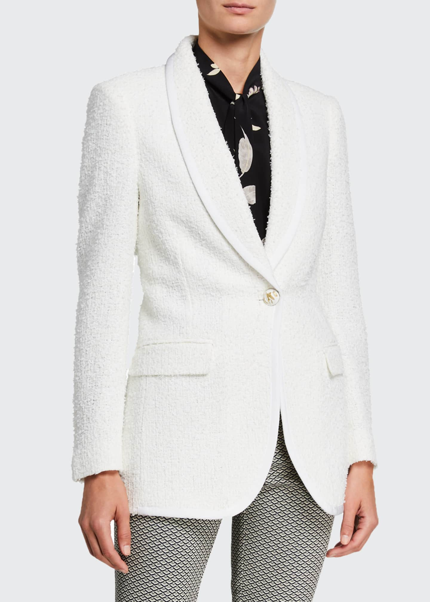 Image 1 of 2: Boucle One-Button Blazer