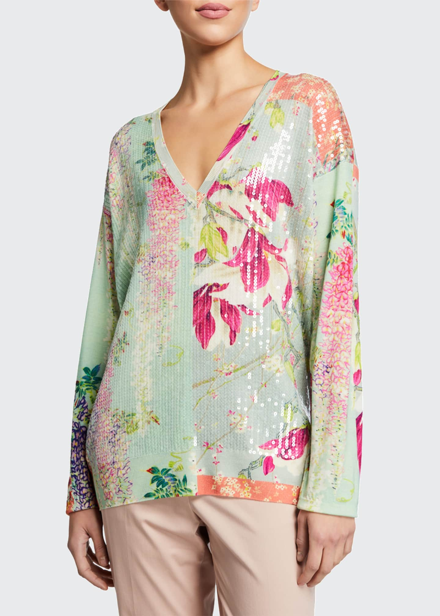 Image 1 of 2: Sequined Lily Print V-Neck Tunic