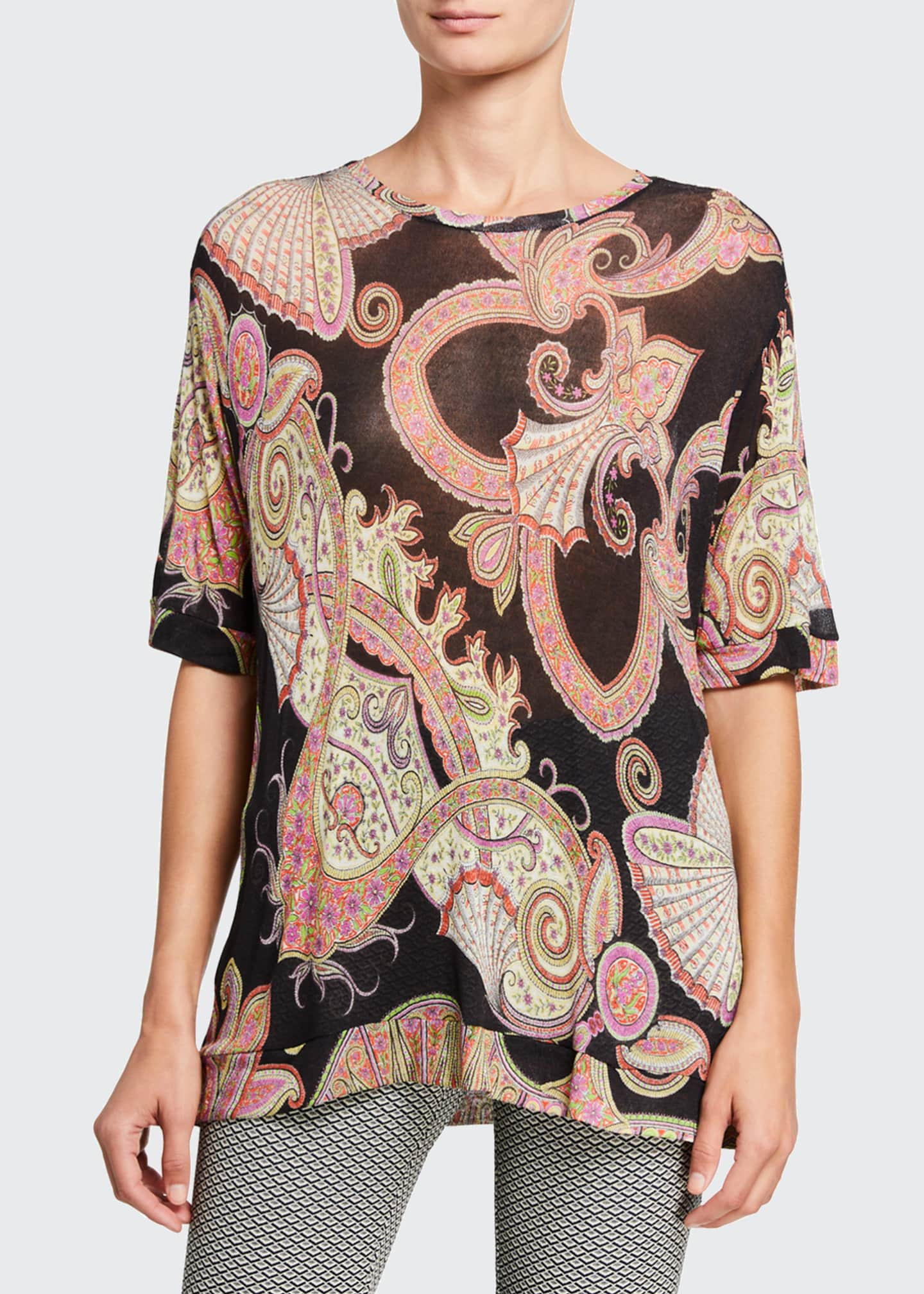 Image 1 of 2: Fan Paisley Gauze Tunic