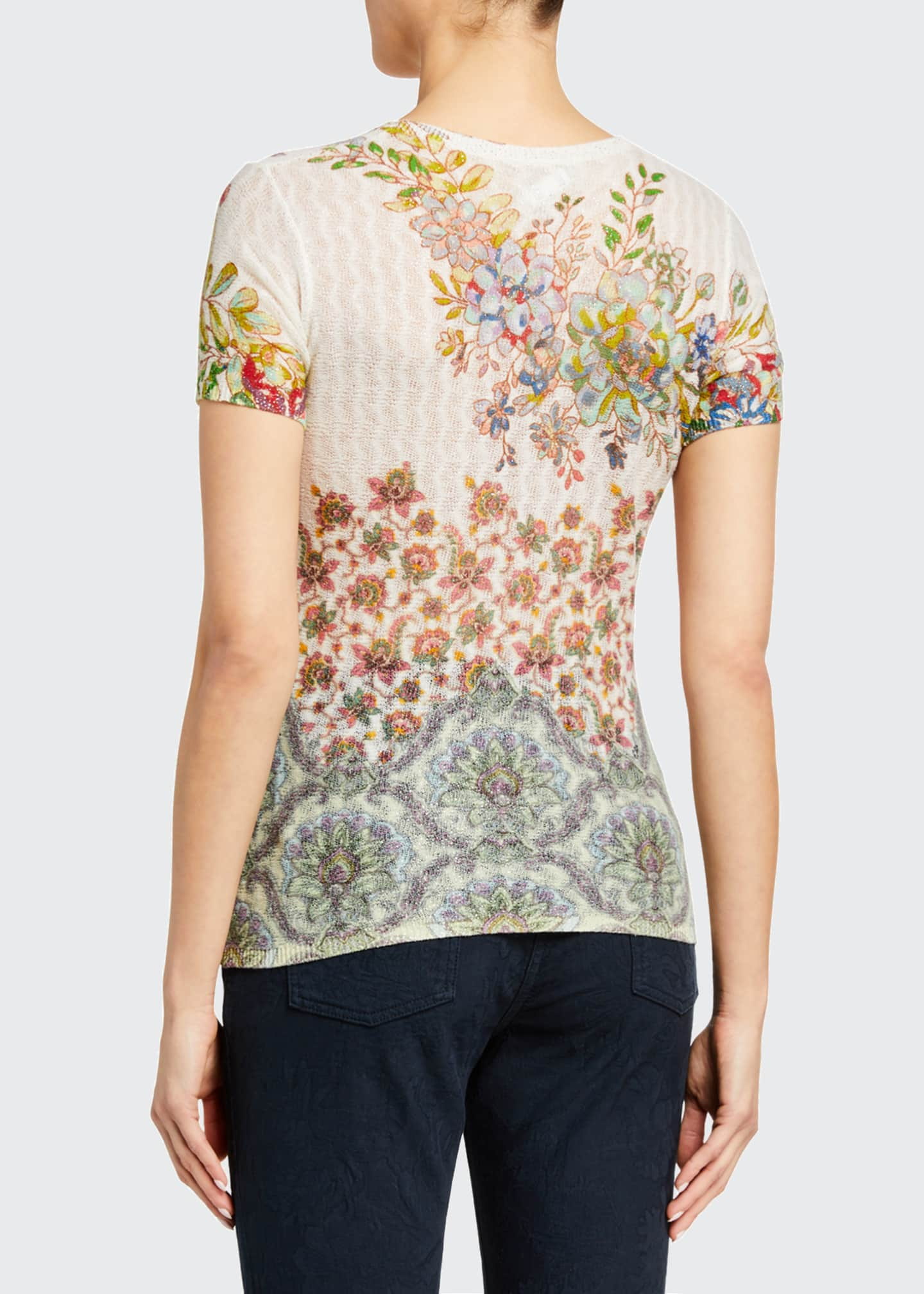 Image 2 of 2: Floral Sheer Cable-Knit T-Shirt