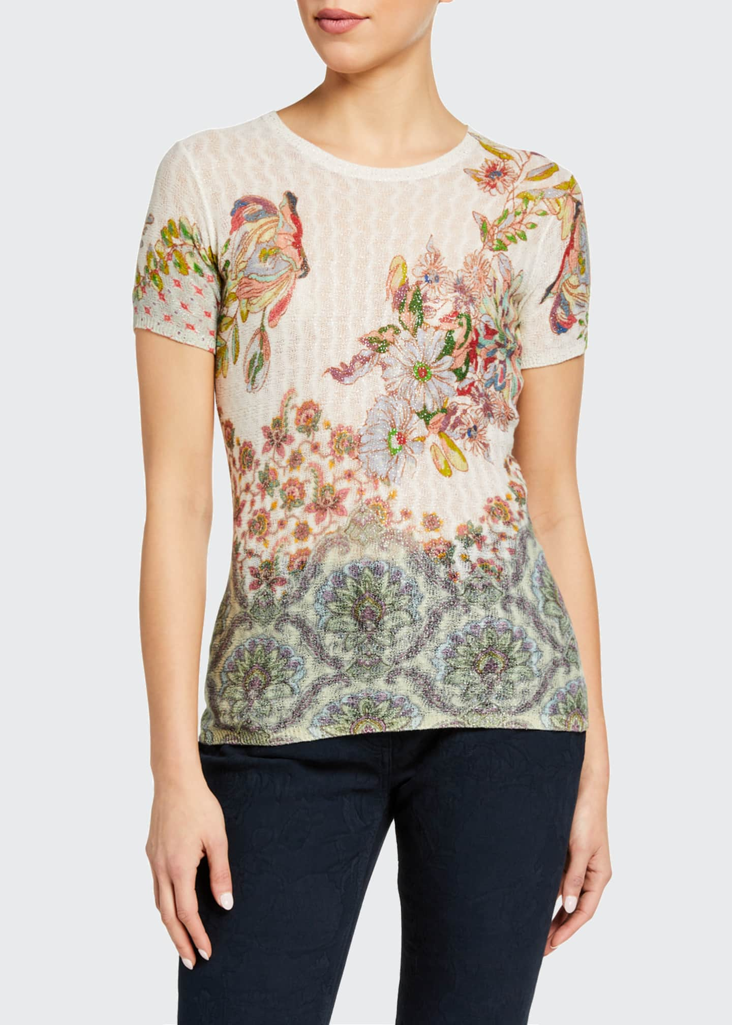 Image 1 of 2: Floral Sheer Cable-Knit T-Shirt