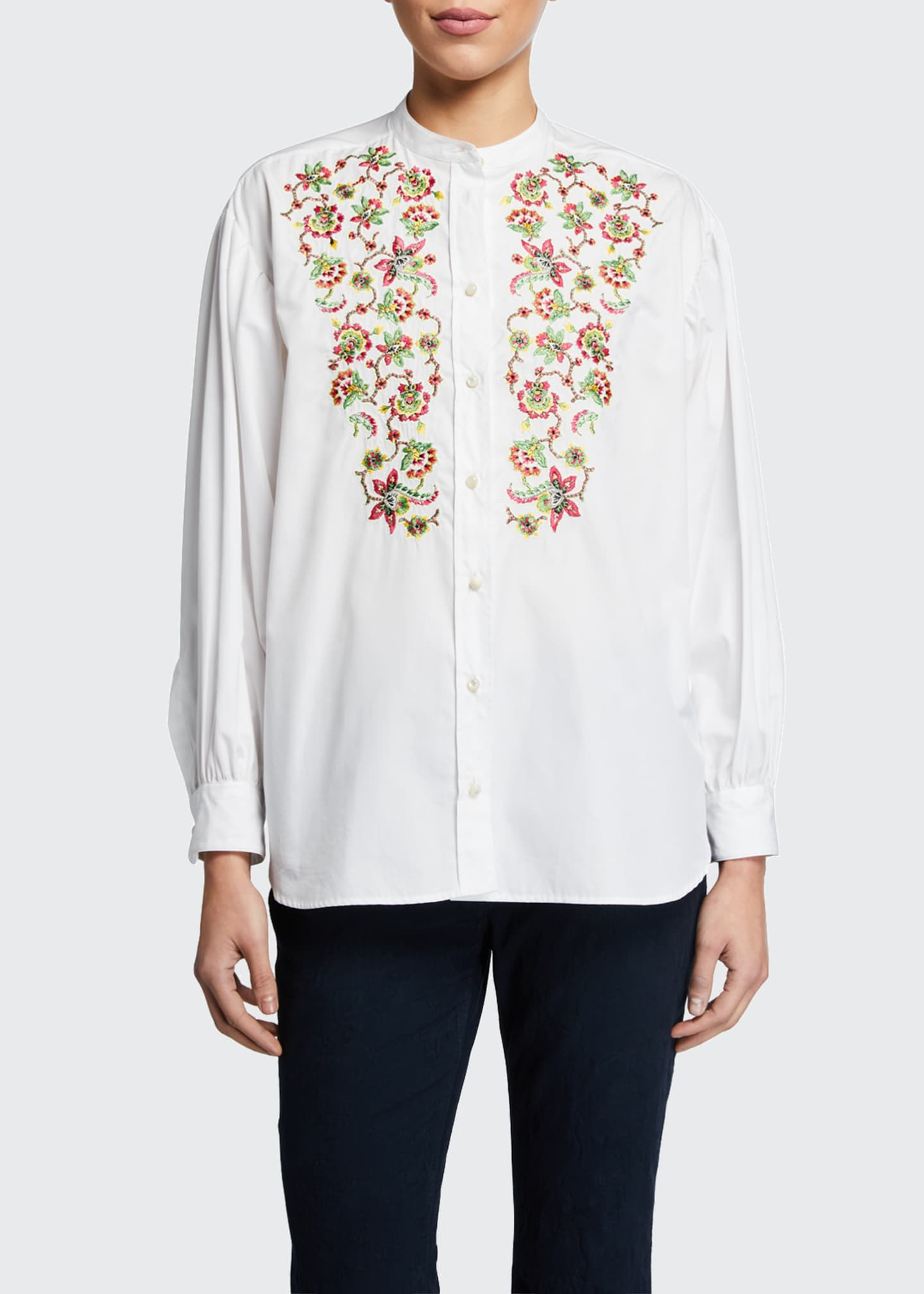 Image 1 of 2: Embroidered Balloon-Sleeve Peasant Blouse