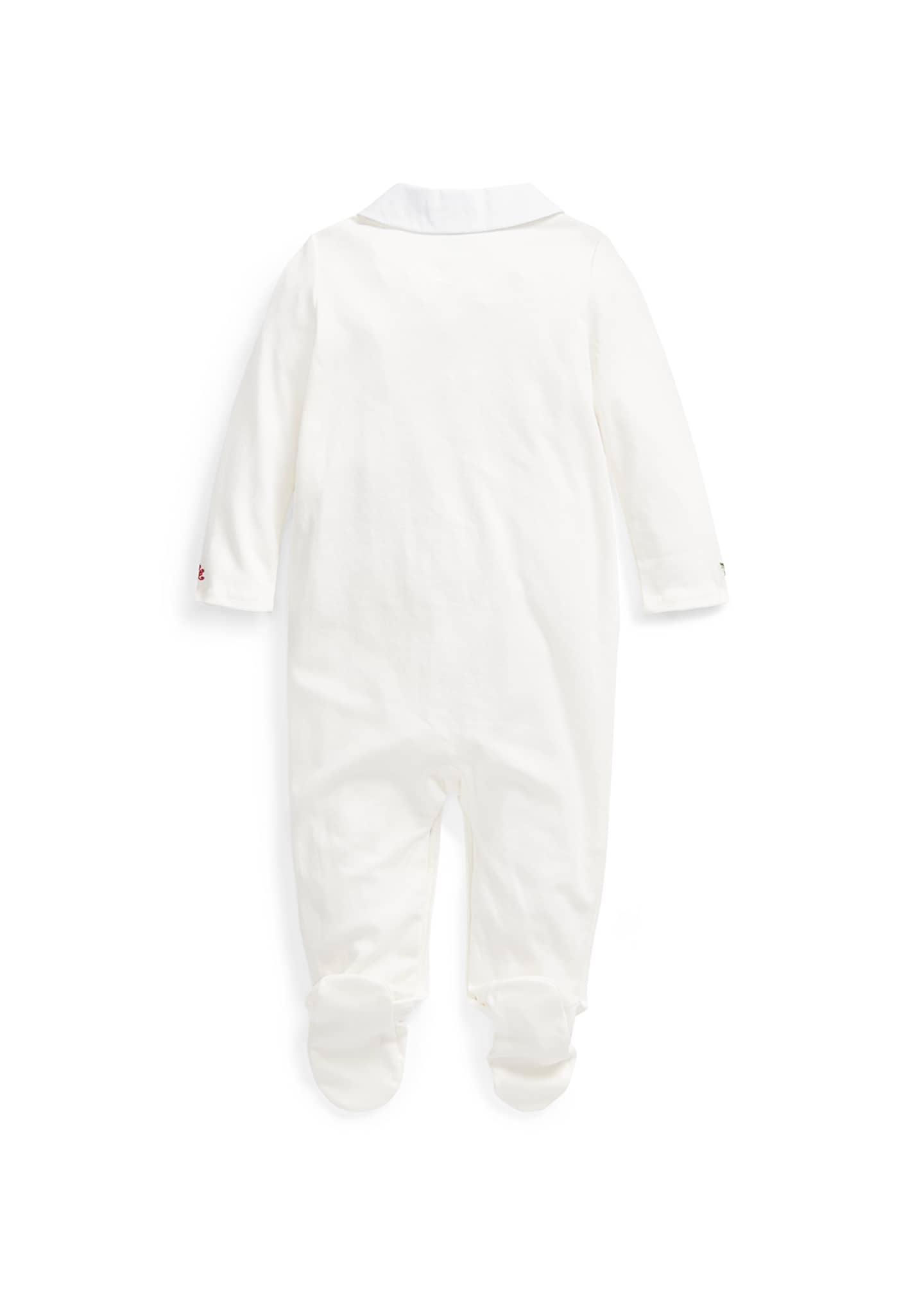Image 2 of 2: Girl's Holly Embroidered Footed Coverall, Size 3-9 Months