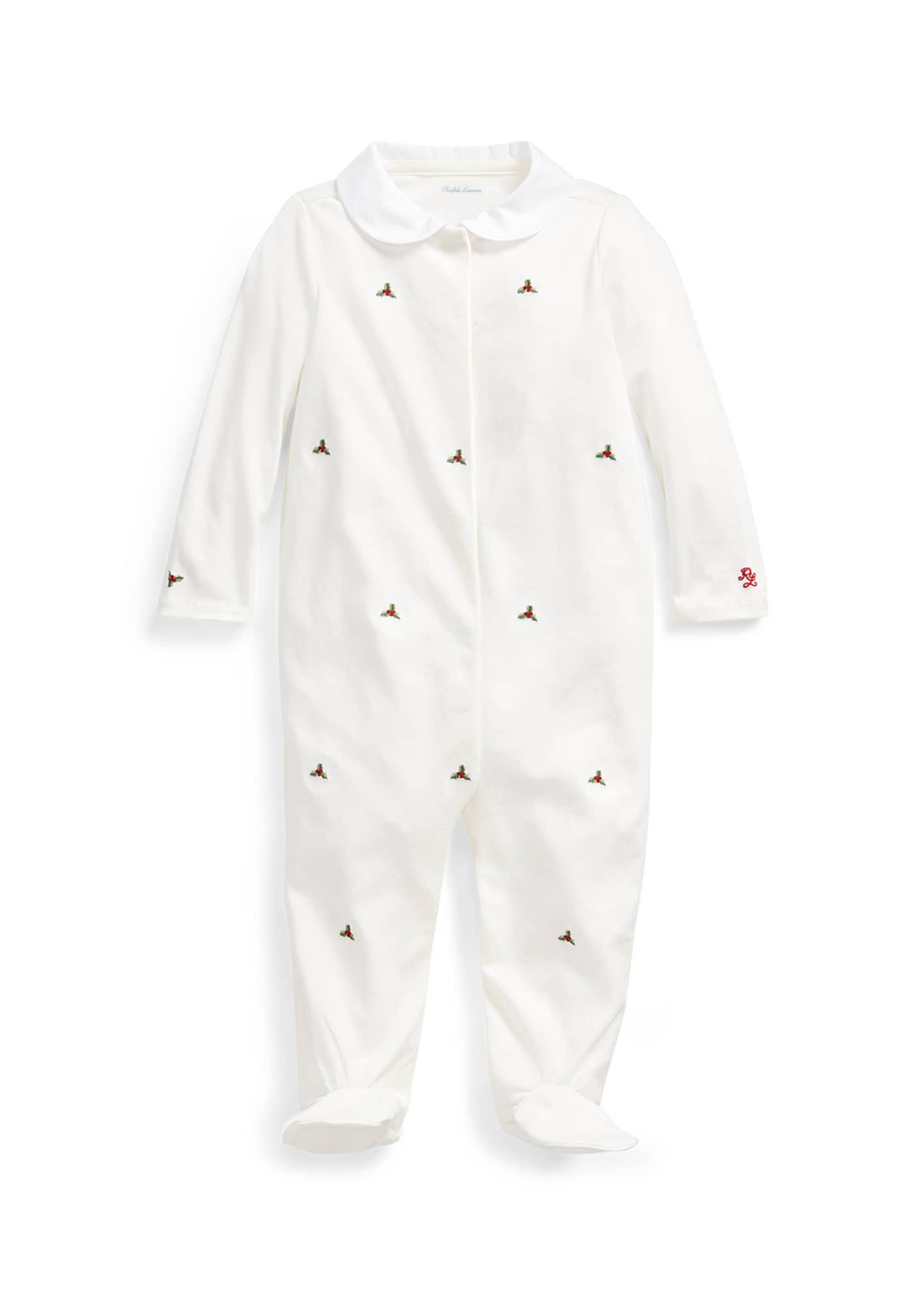 Image 1 of 2: Girl's Holly Embroidered Footed Coverall, Size 3-9 Months