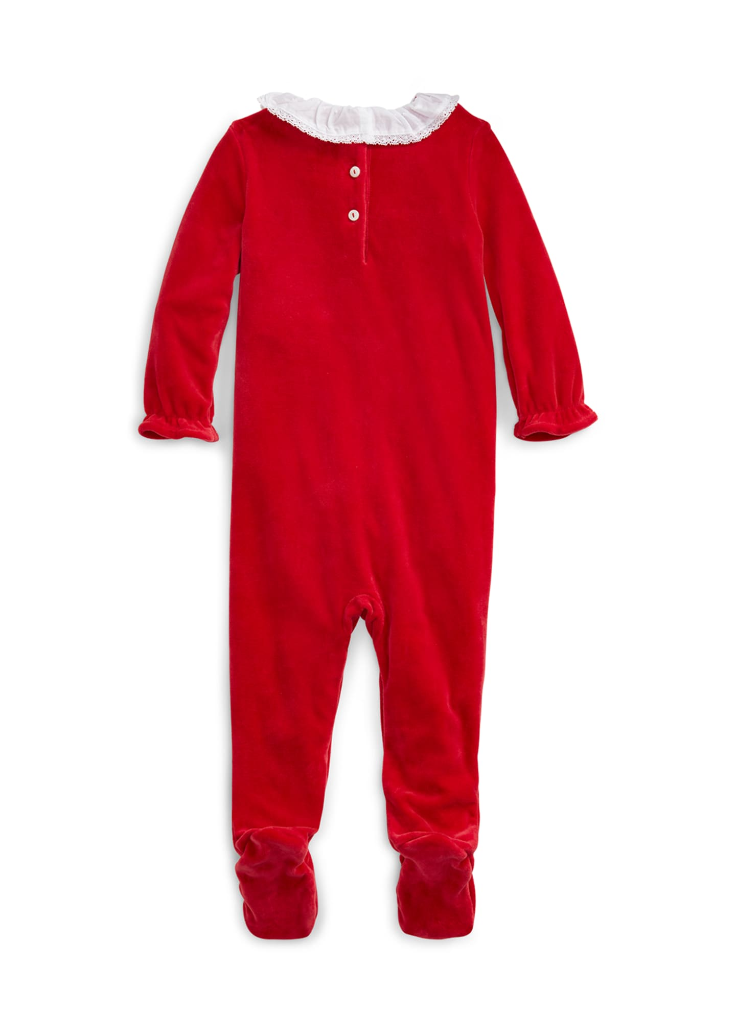 Image 2 of 2: Girl's Velour Footie Playsuit, Size 3-9 Months