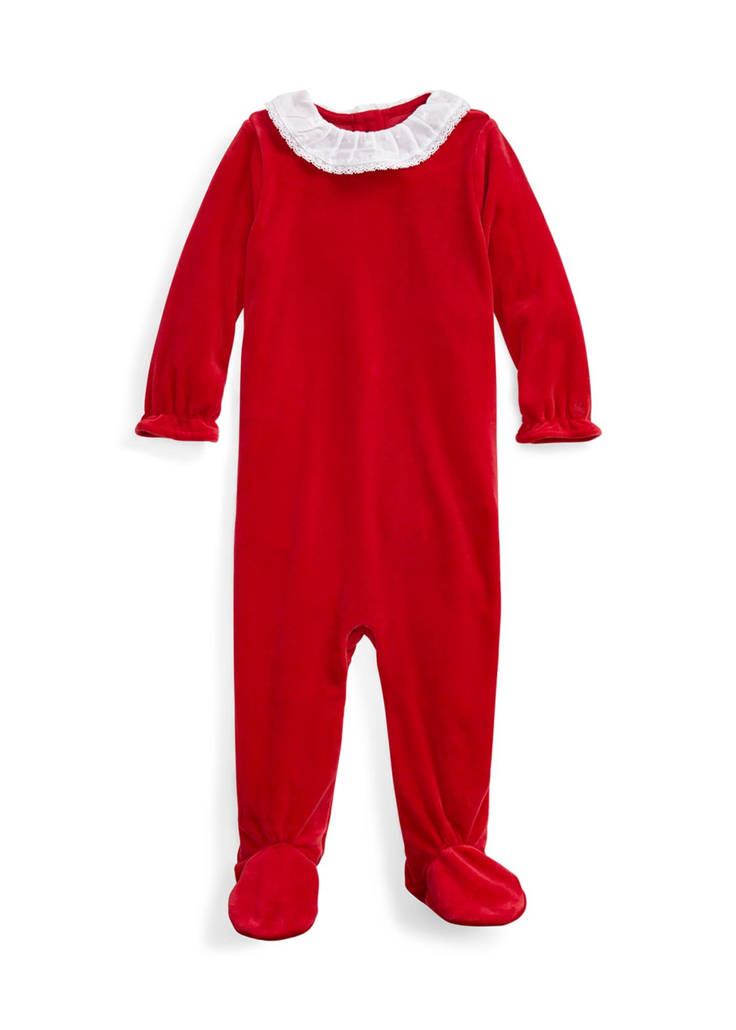 Image 1 of 2: Girl's Velour Footie Playsuit, Size 3-9 Months