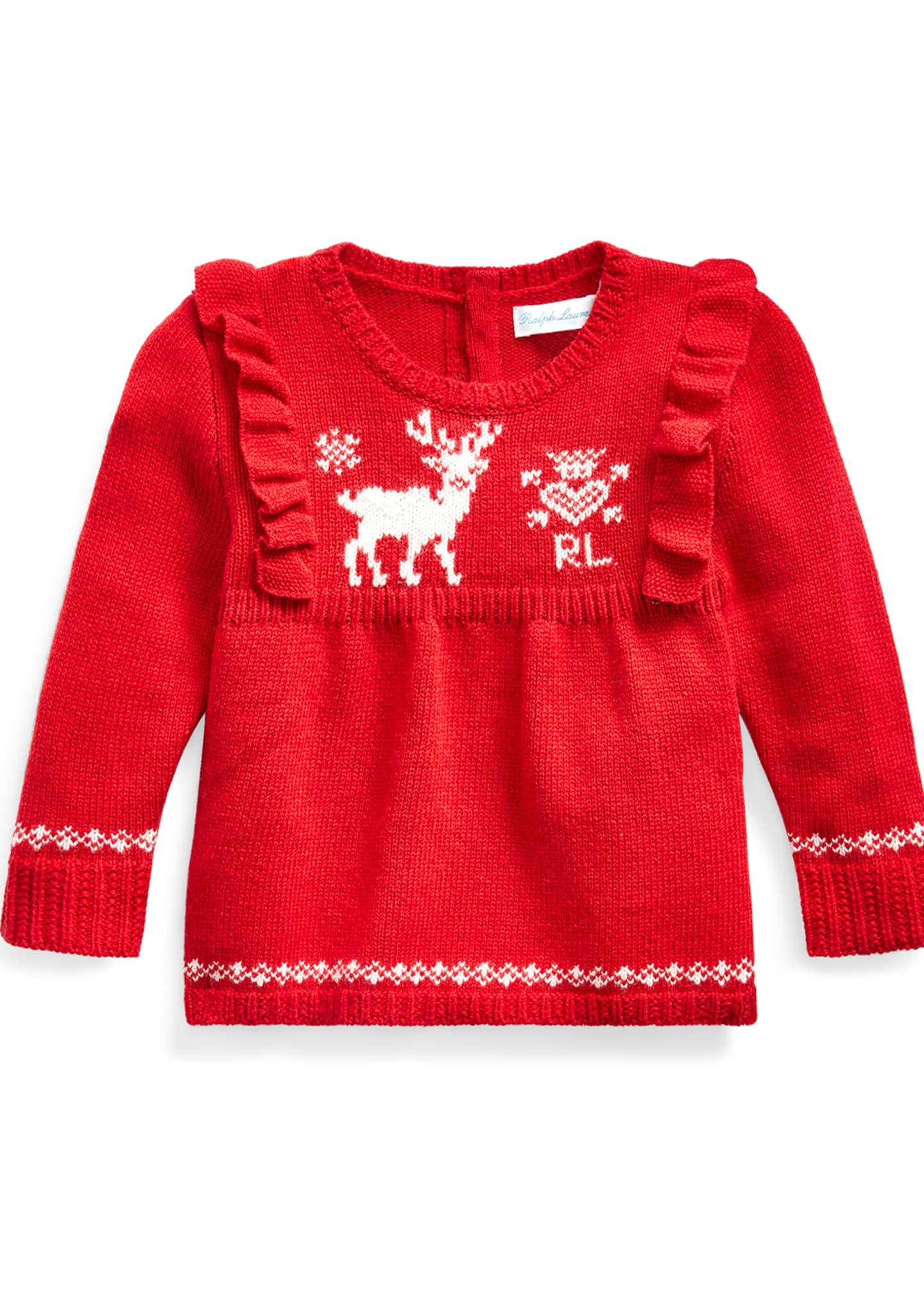 Ralph Lauren Childrenswear Girl's Reindeer Intarsia Ruffle Trim