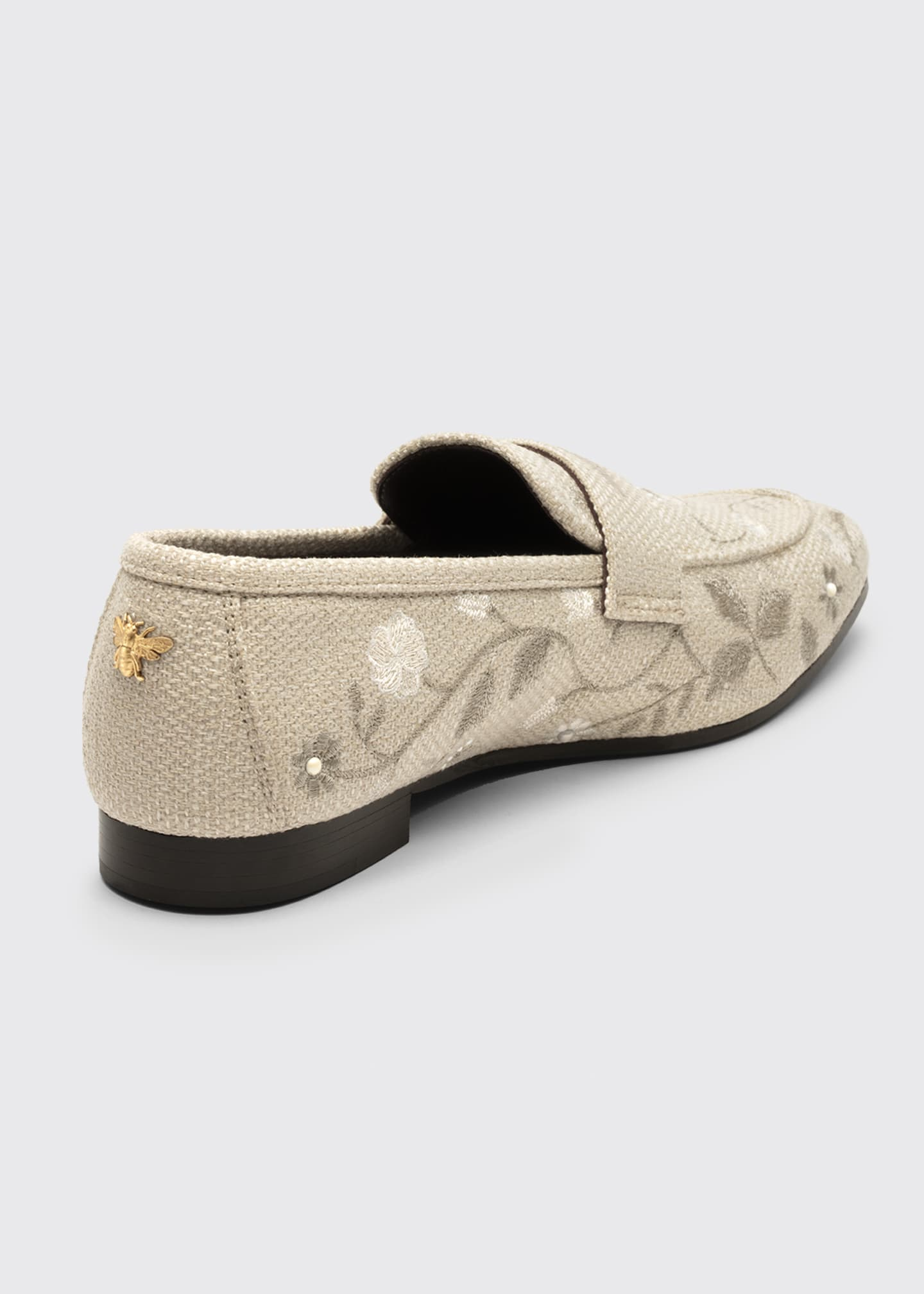 Image 2 of 3: Embroidered Floral Flat Loafers