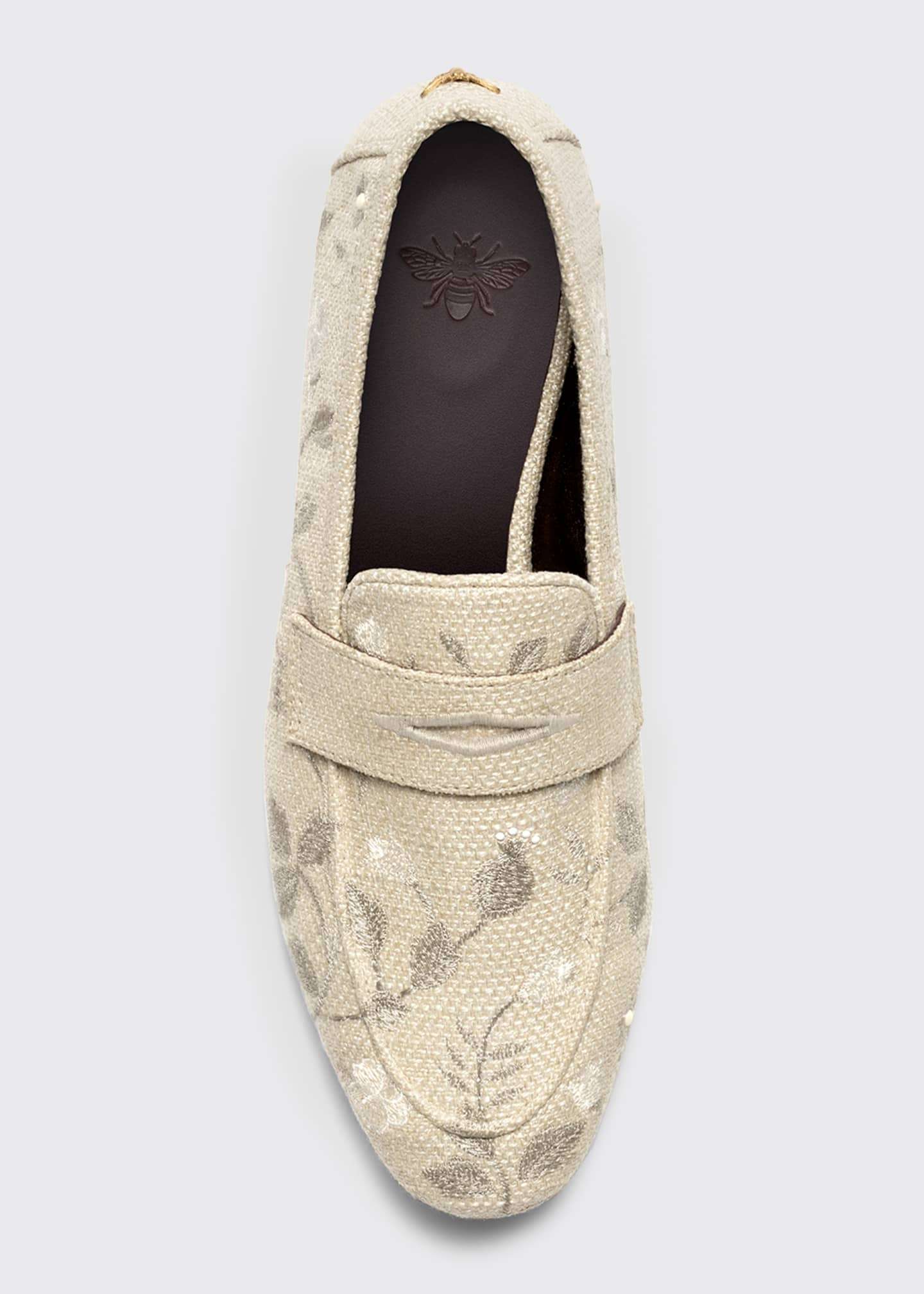 Image 3 of 3: Embroidered Floral Flat Loafers