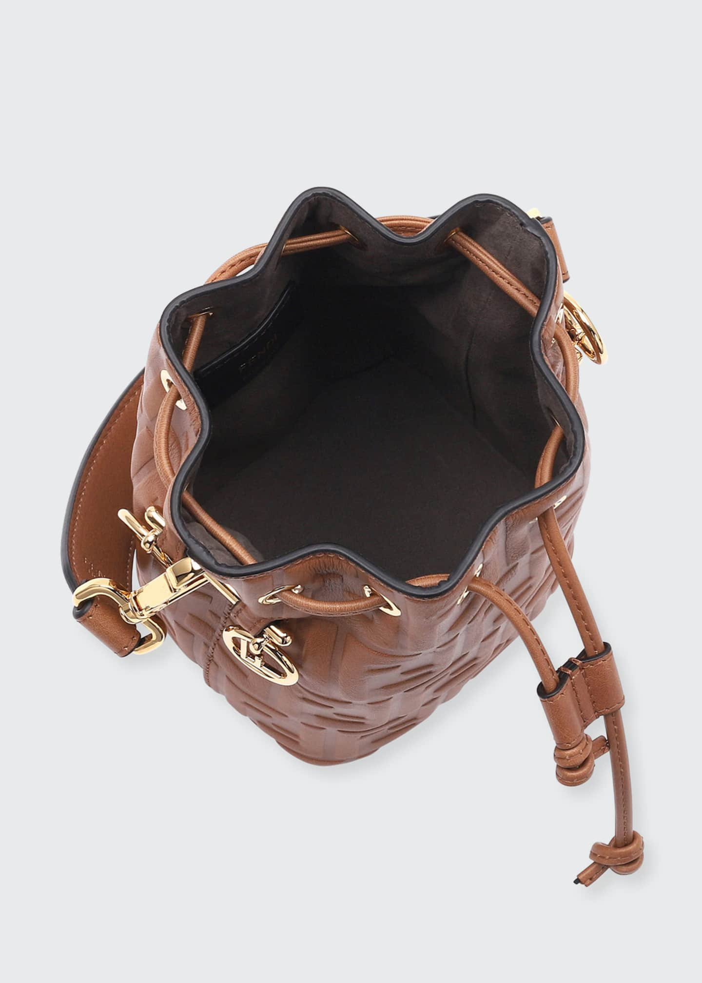 Image 2 of 3: Mon Tresor Mini FF-Embossed Leather Bucket Bag