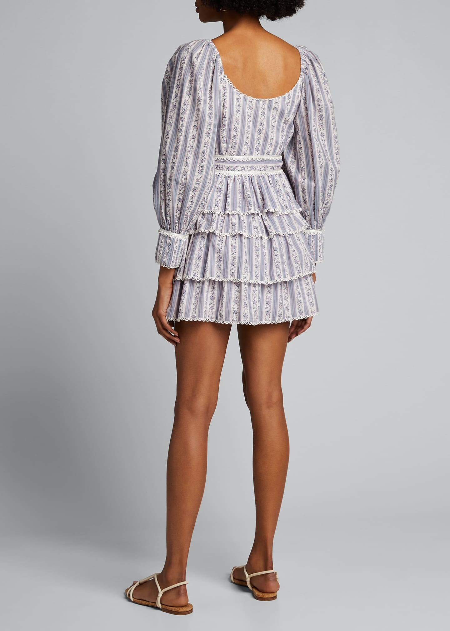 Image 2 of 5: Astor Striped Ruffle-Tiered Dress
