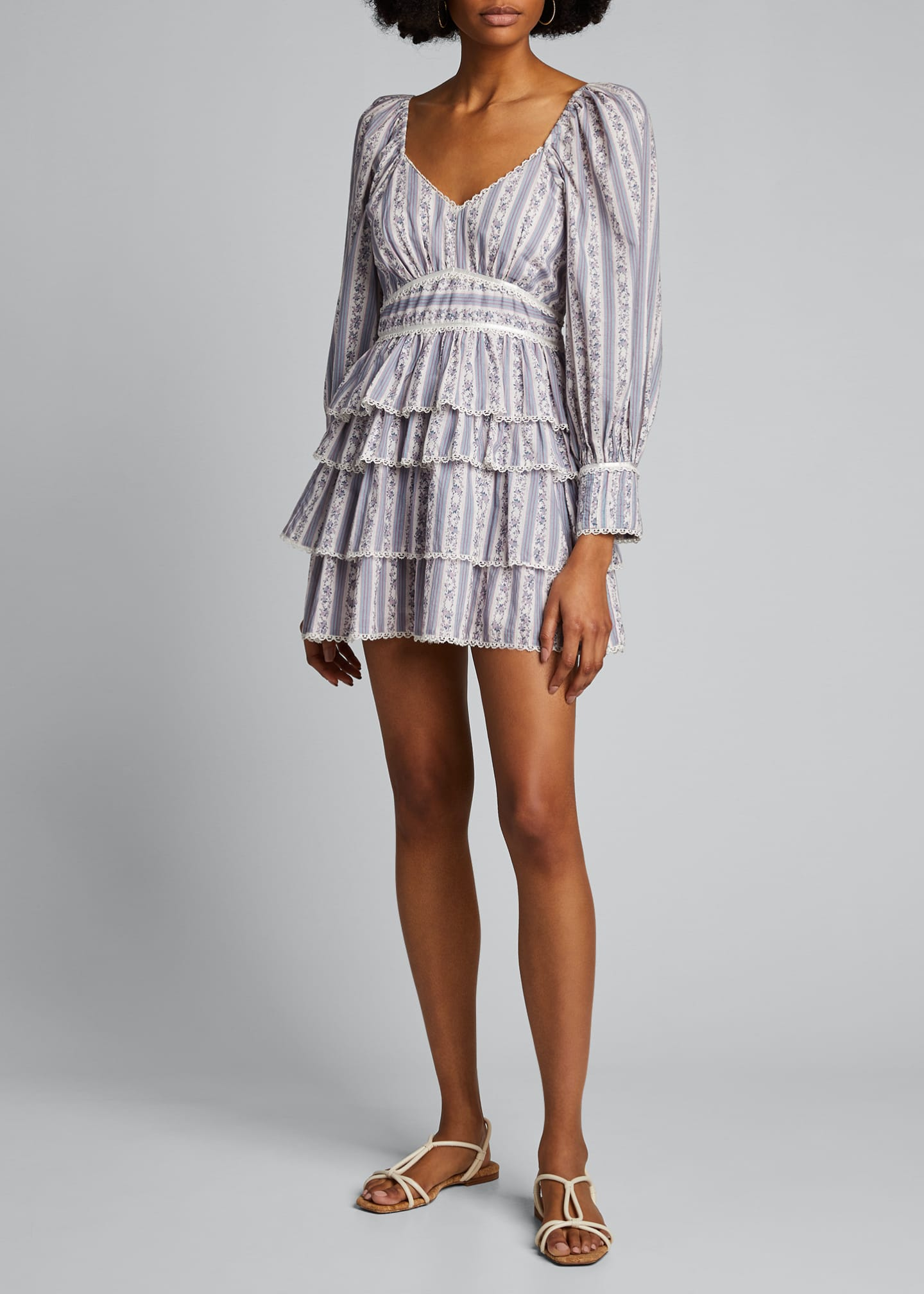 Image 3 of 5: Astor Striped Ruffle-Tiered Dress