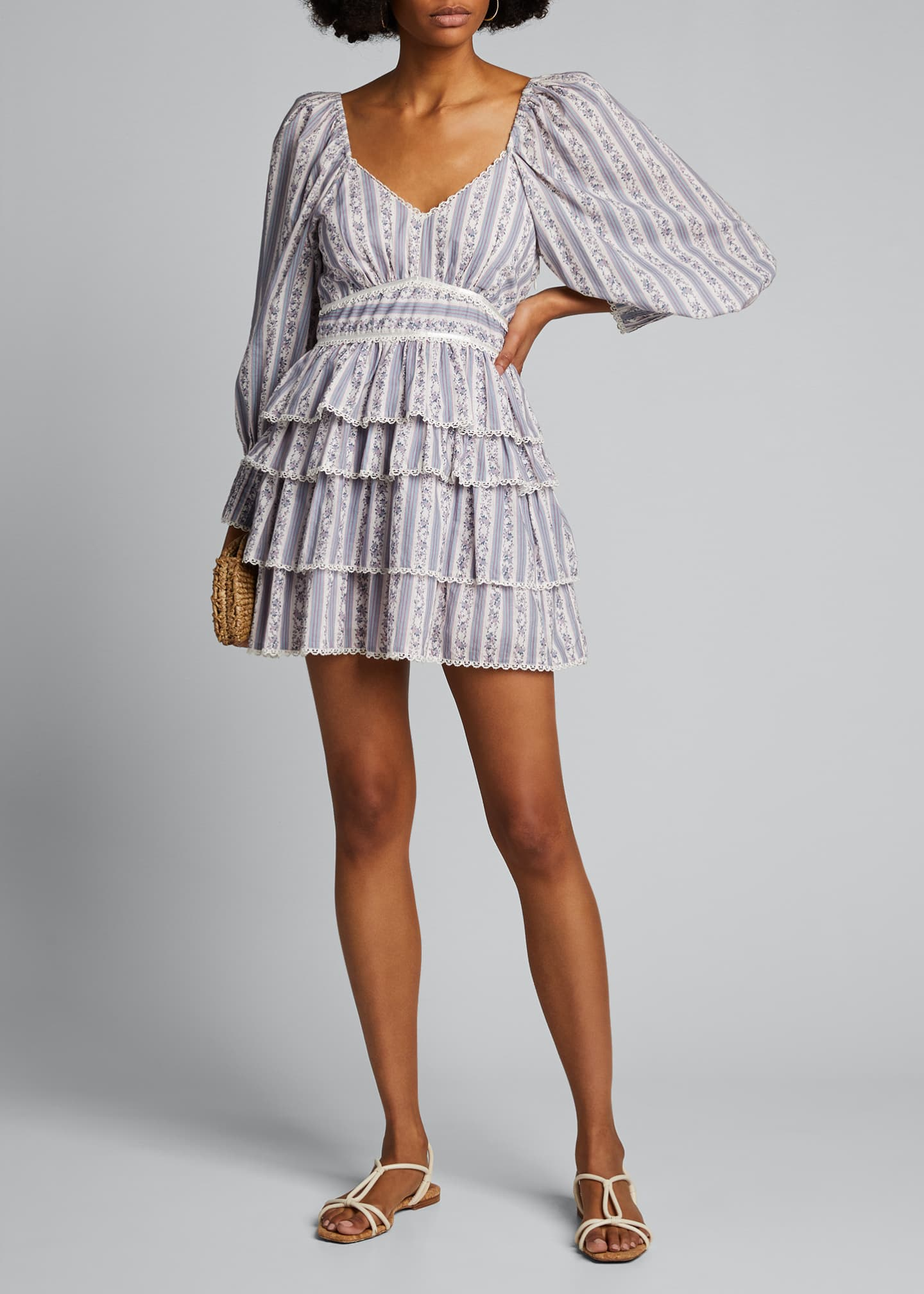 Image 1 of 5: Astor Striped Ruffle-Tiered Dress