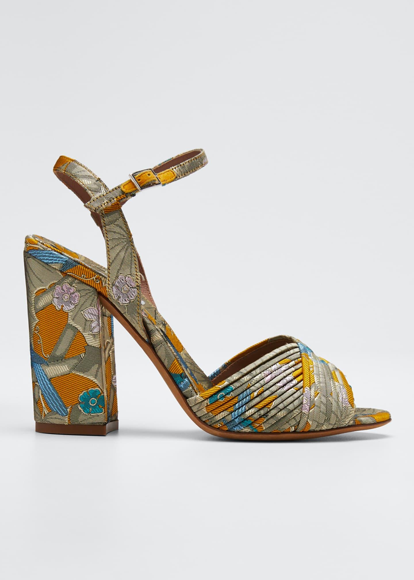 Tabitha Simmons Kali Floral Block-Heel Sandals
