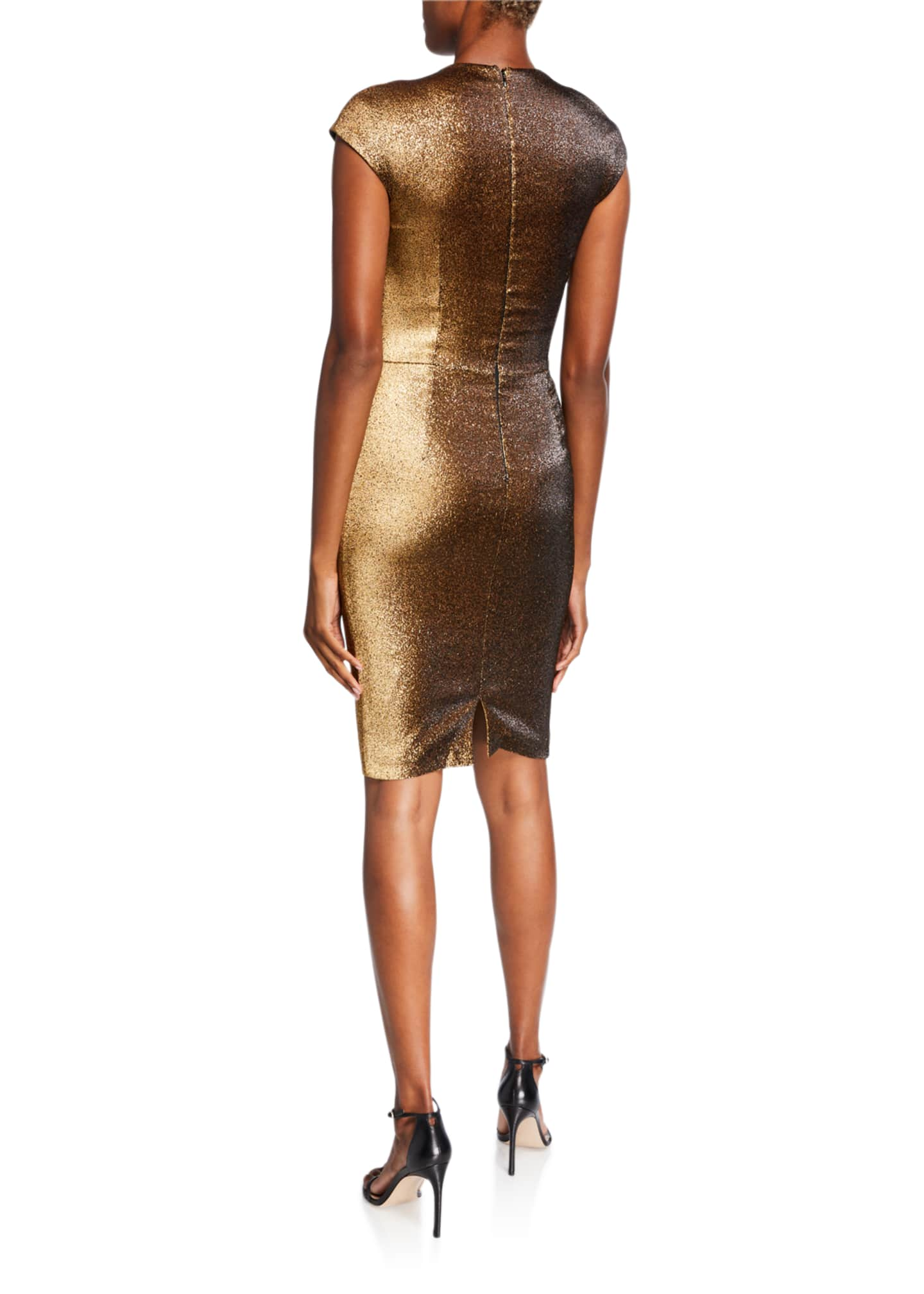 Image 2 of 3: Ruched Stretch Metallic Cap-Sleeve Dress