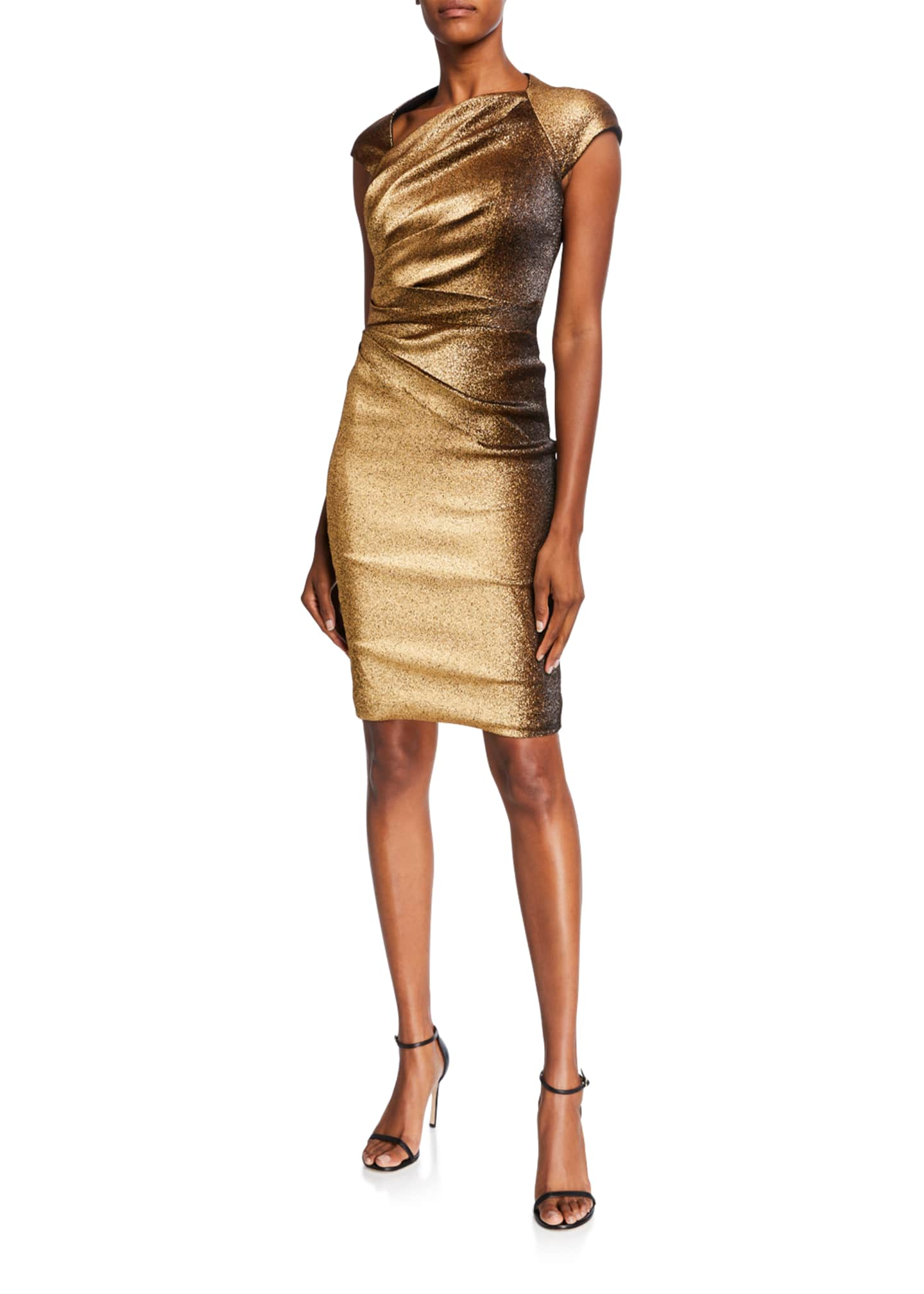 Image 1 of 3: Ruched Stretch Metallic Cap-Sleeve Dress