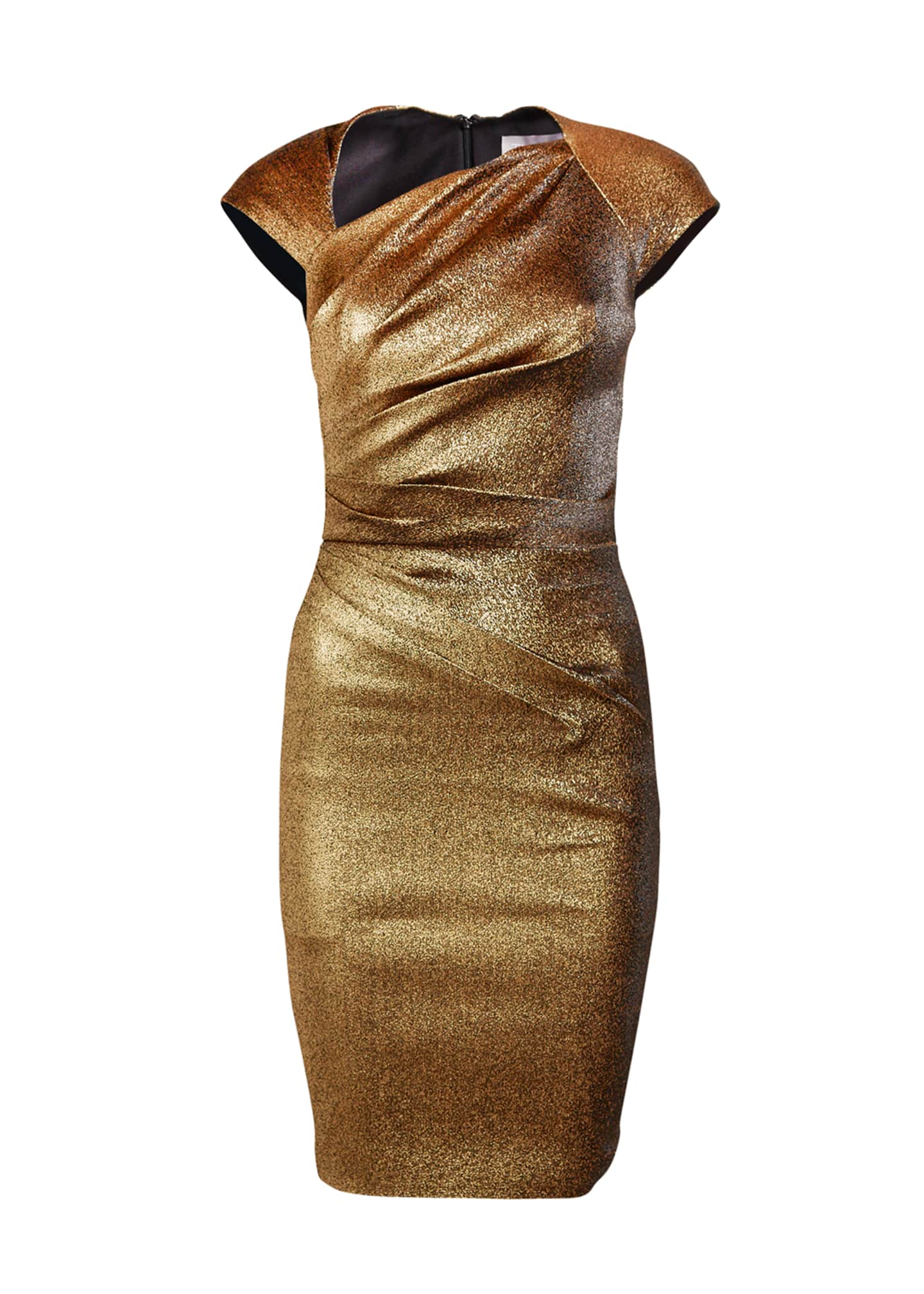 Image 3 of 3: Ruched Stretch Metallic Cap-Sleeve Dress