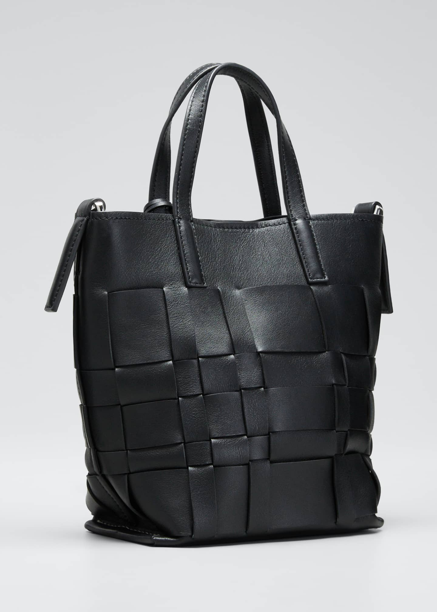 Image 3 of 5: Lattice Woven Leather Bucket Tote Bag