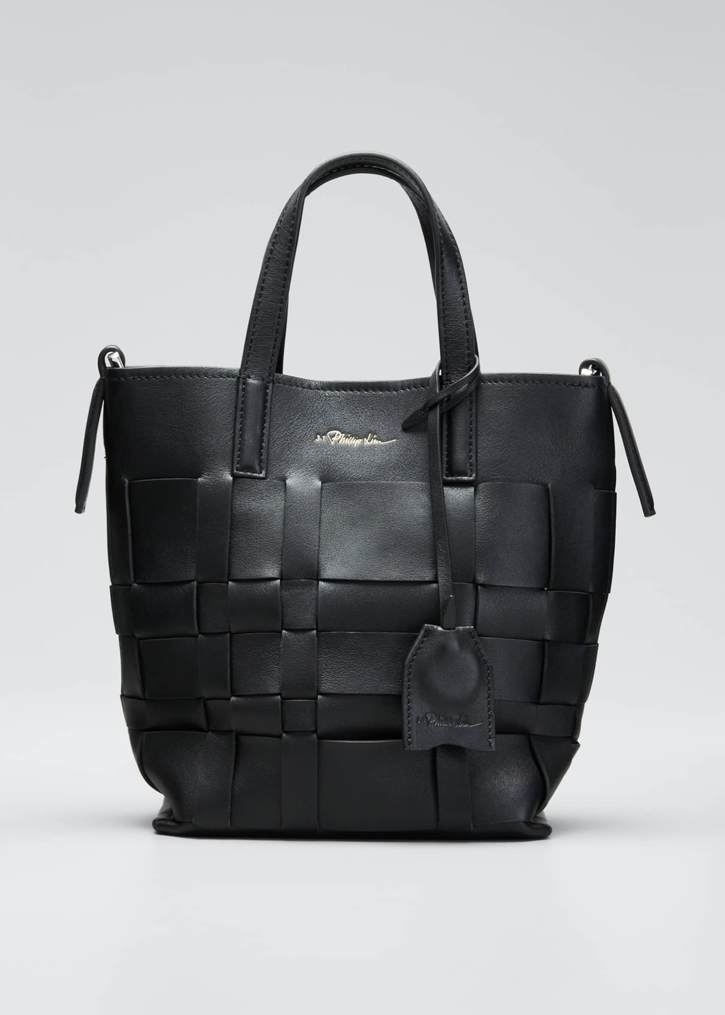 Image 1 of 5: Lattice Woven Leather Bucket Tote Bag
