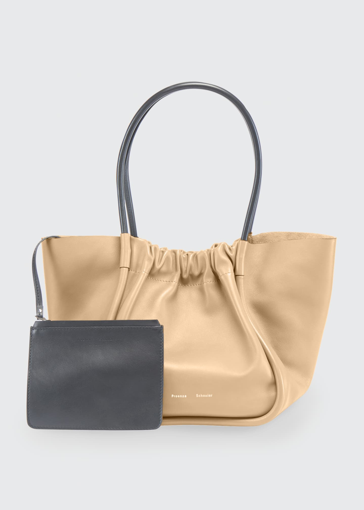 Image 2 of 4: Large Ruched Smooth Leather Tote Bag