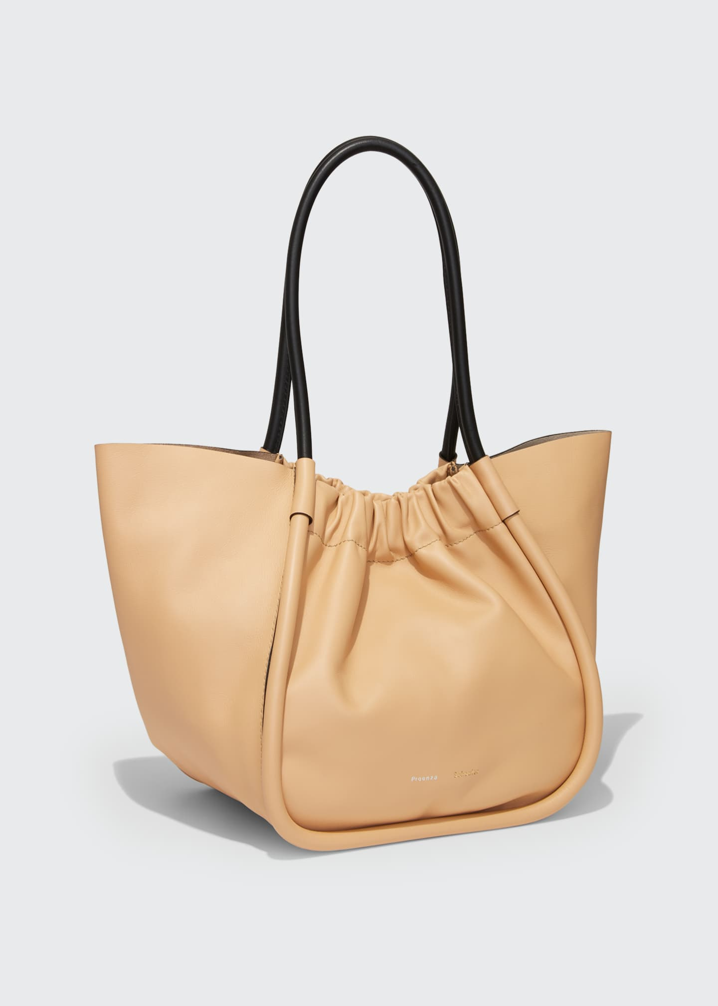 Image 3 of 4: Large Ruched Smooth Leather Tote Bag