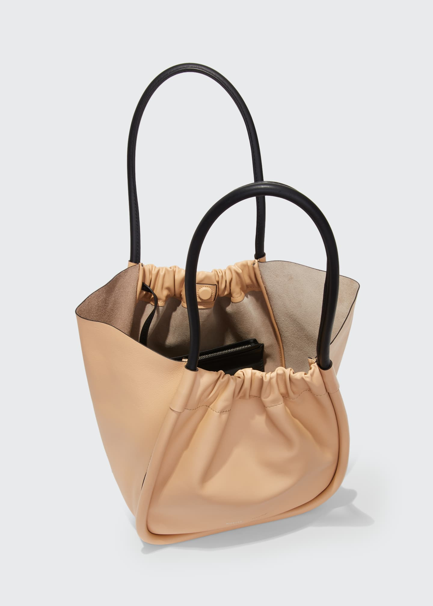 Image 4 of 4: Large Ruched Smooth Leather Tote Bag