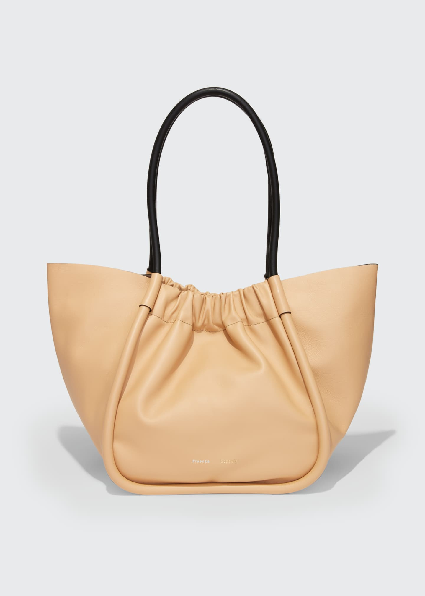 Image 1 of 4: Large Ruched Smooth Leather Tote Bag