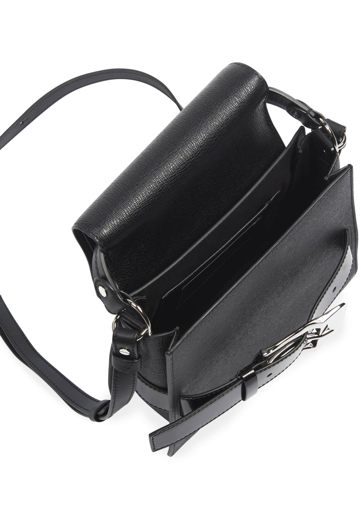 Image 2 of 3: Buckle Trapeze Grainy Shoulder Bag
