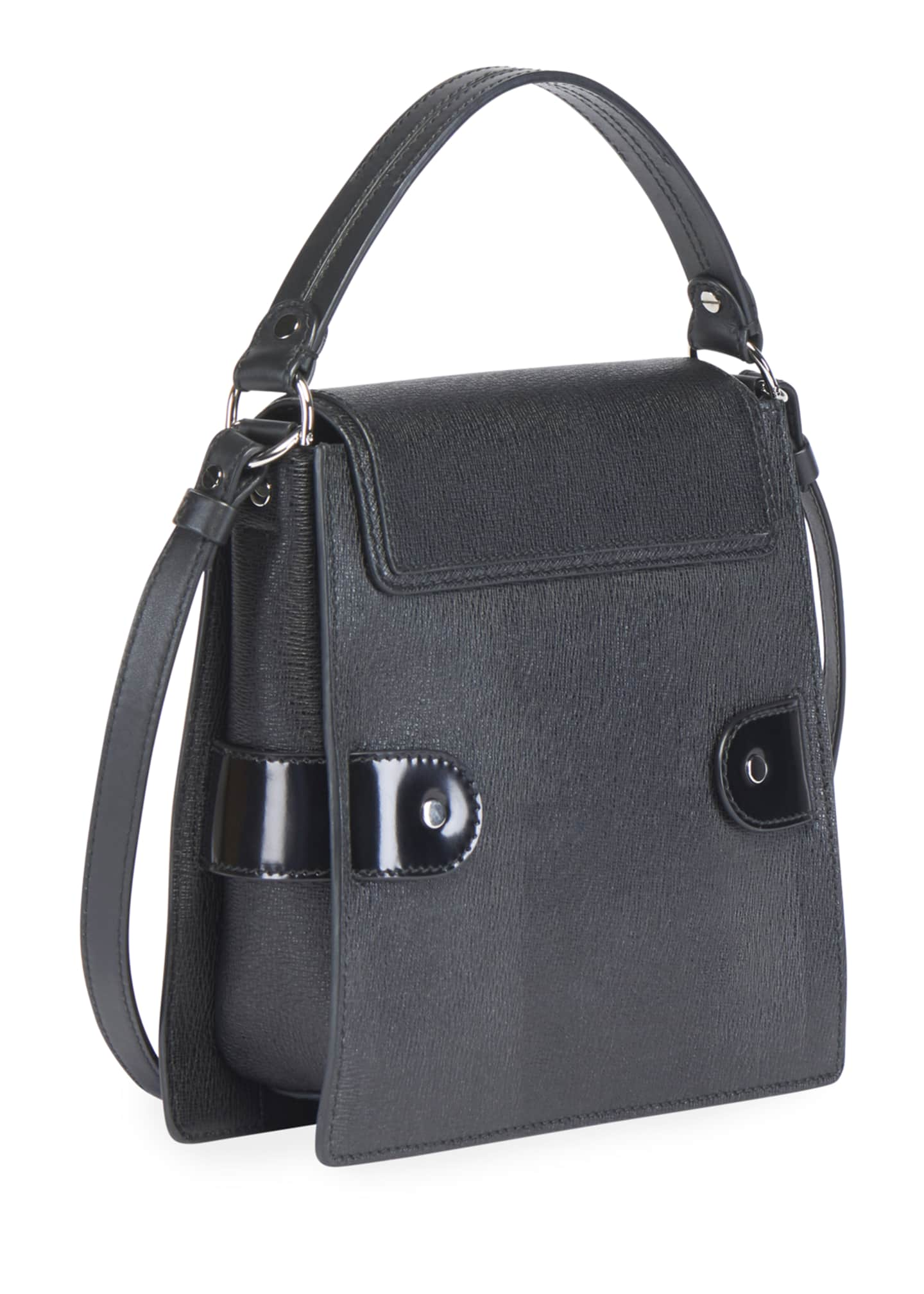 Image 3 of 3: Buckle Trapeze Grainy Shoulder Bag