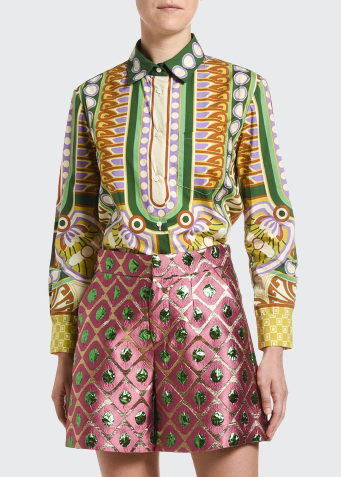 Double J Geometric-Print Cotton Boy Shirt