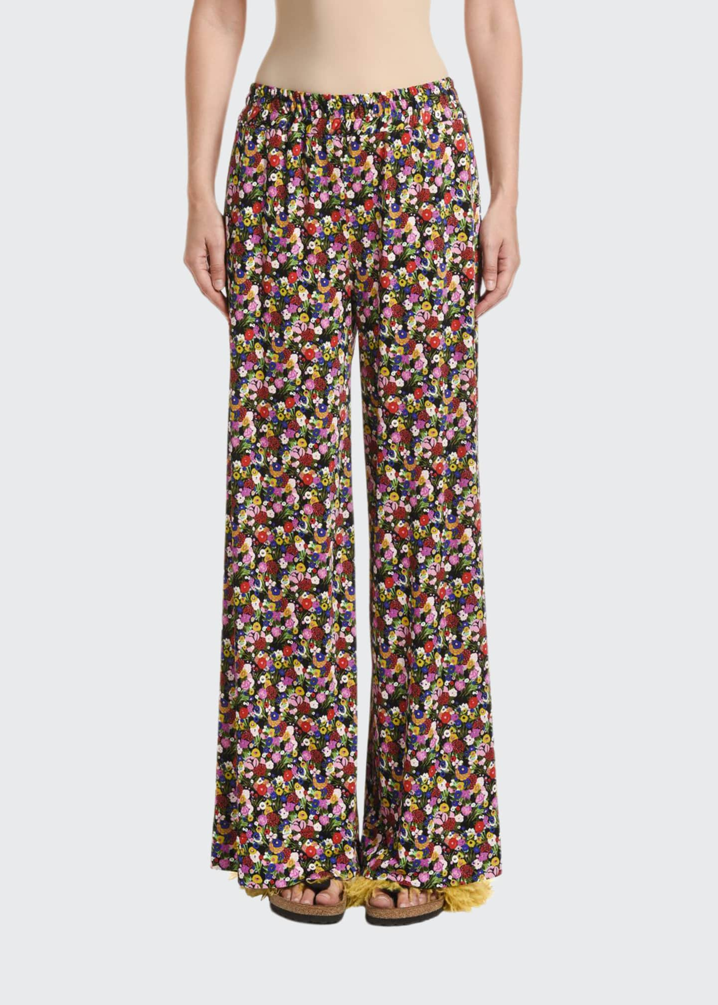 Double J Calico Floral Matte Jersey Palazzo Pants