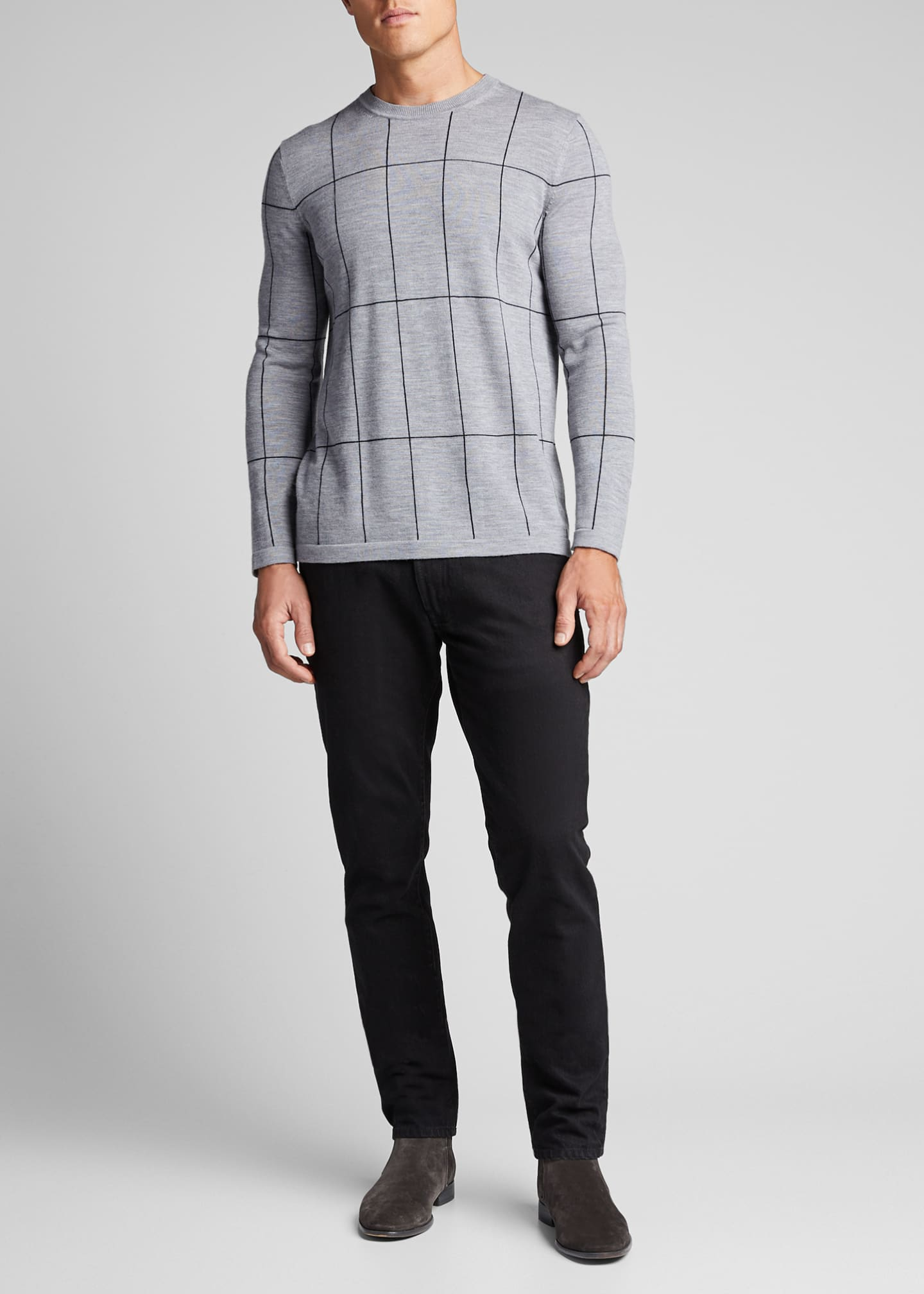 Theory Men's Malio Milos Grid Check Wool Sweater