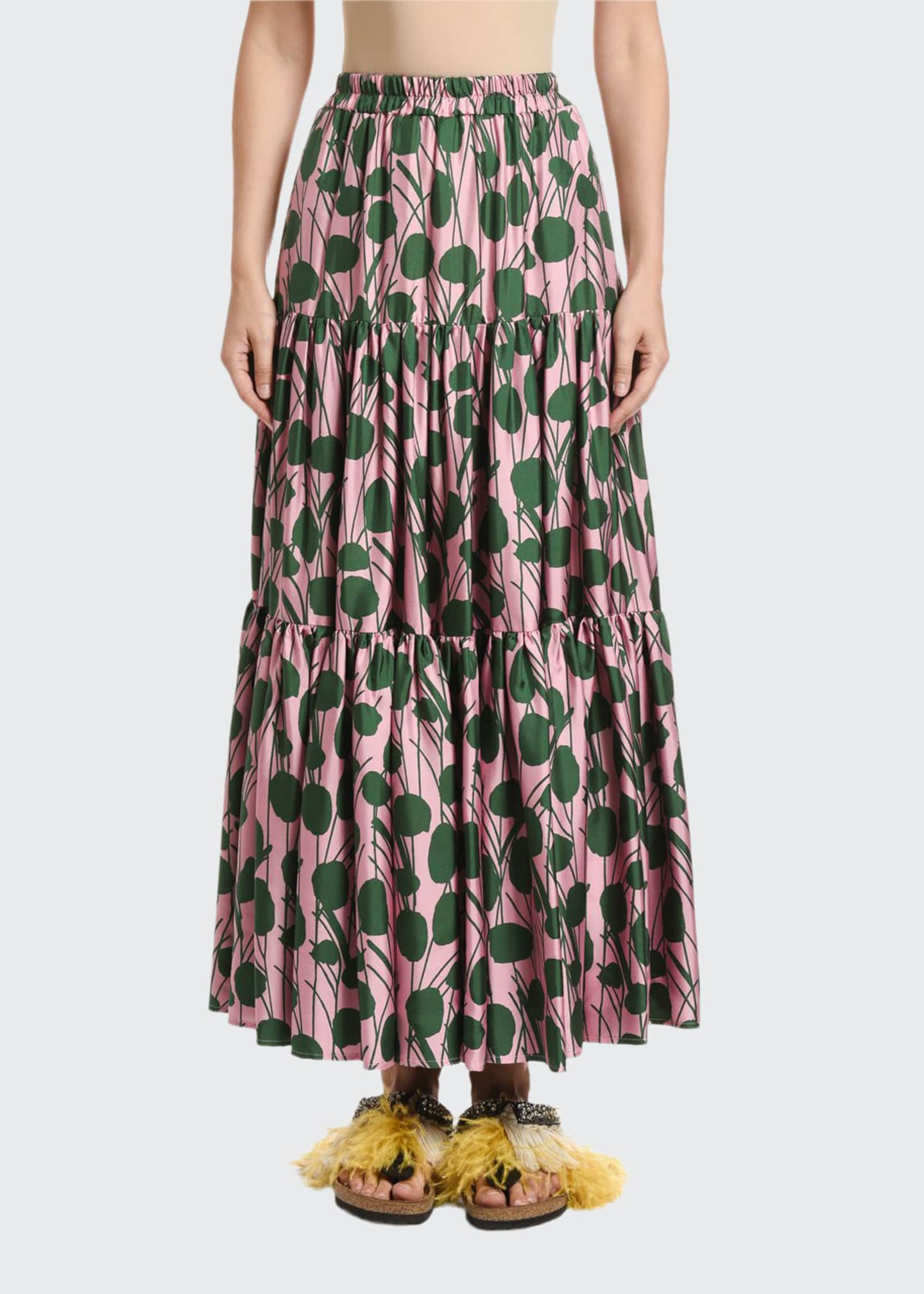 Double J Leaf-Print Silk Big Skirt