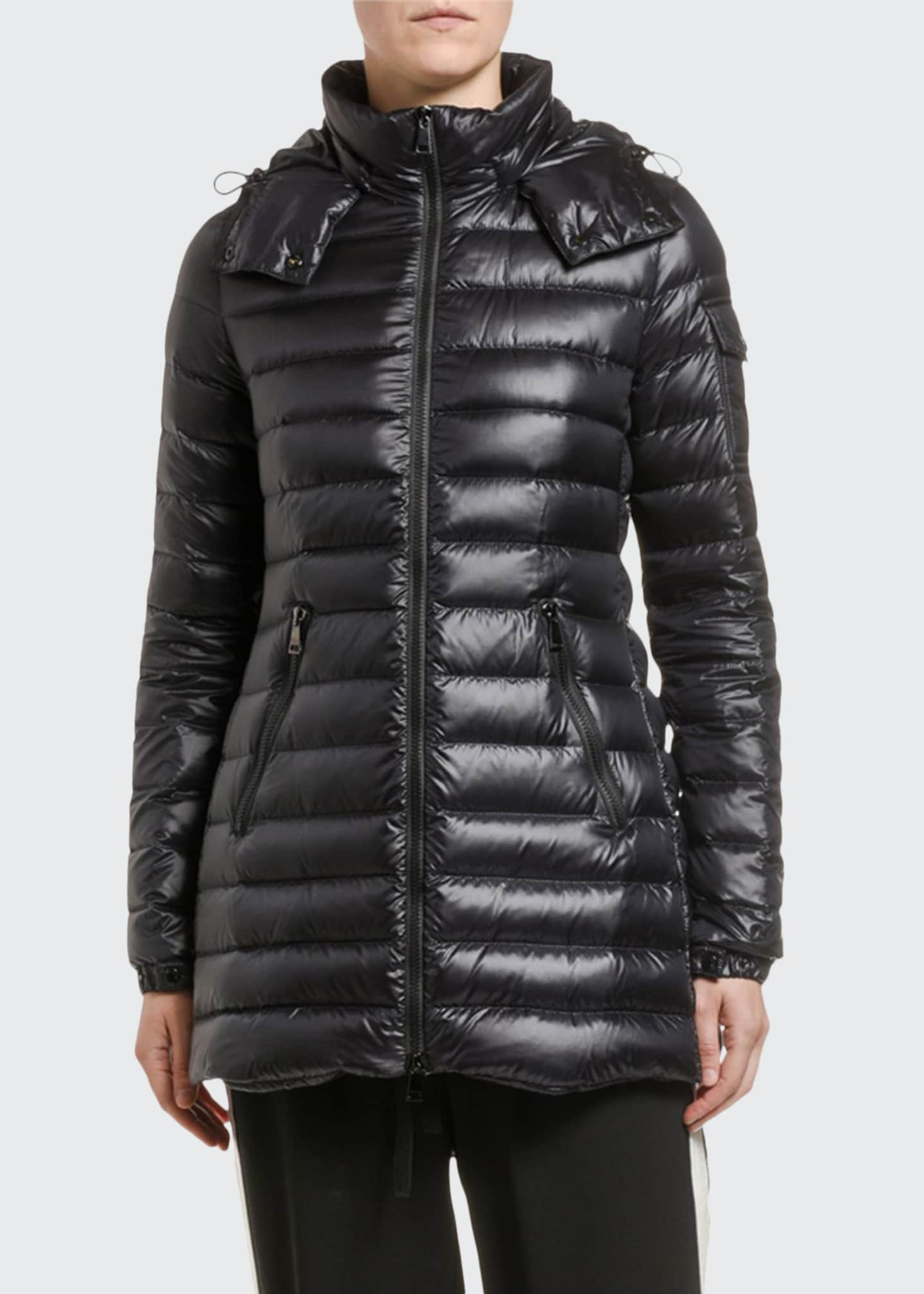 Moncler Menthe Removable-Hood Horizontal Puffer Coat