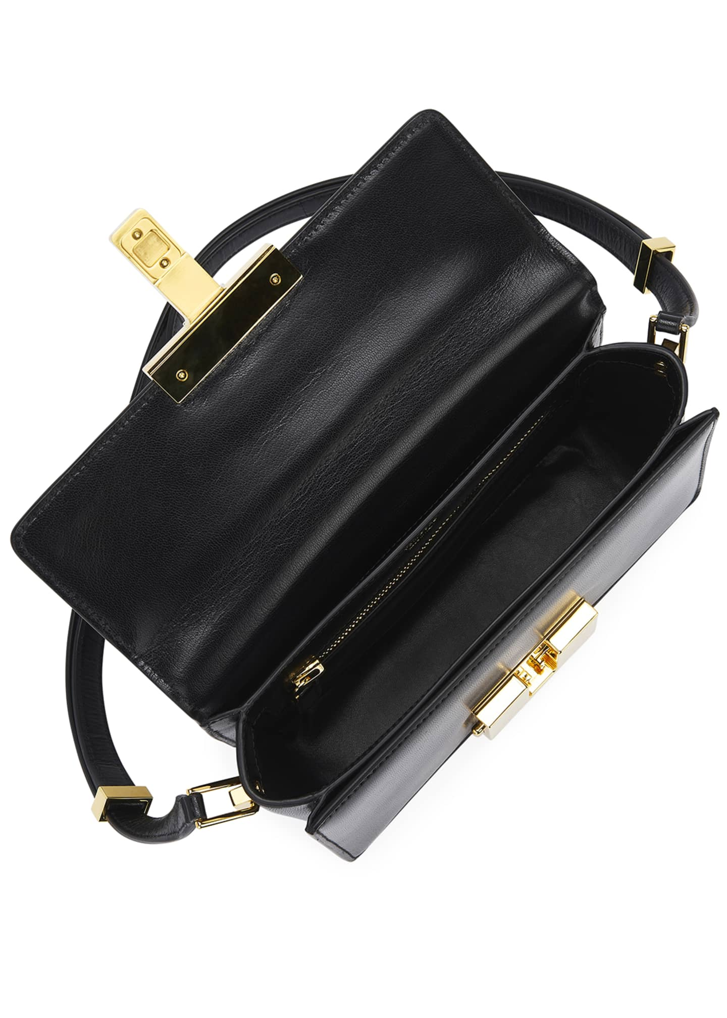 Image 2 of 5: T-Clasp Shiny Leather Shoulder Bag