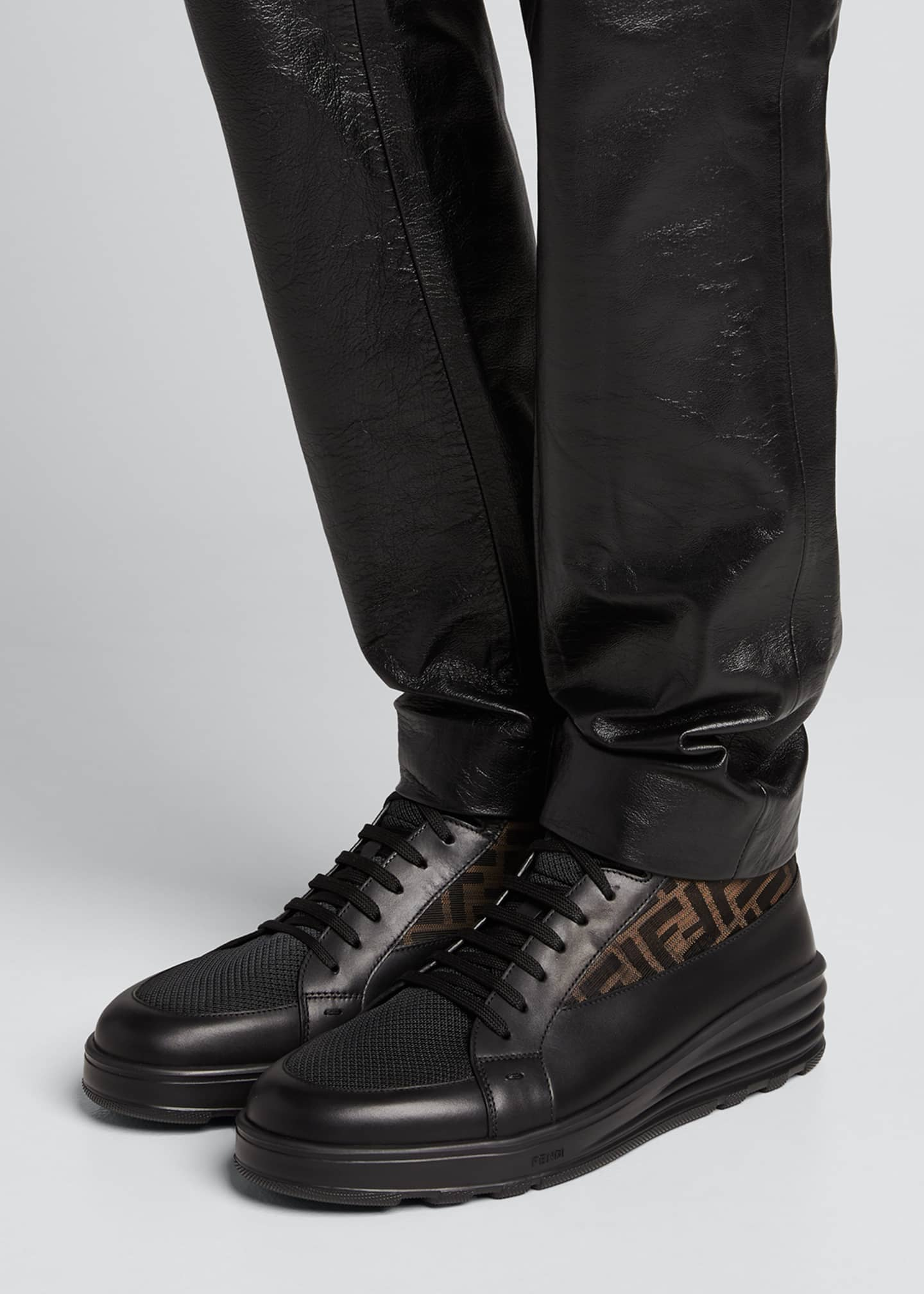 Image 2 of 5: Men's High-Top FF Leather Platform Sneakers