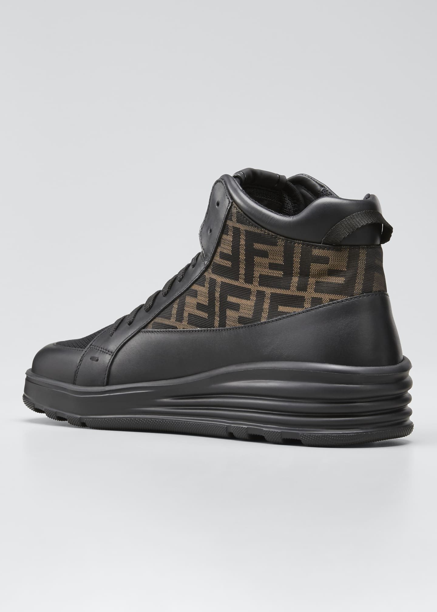 Image 4 of 5: Men's High-Top FF Leather Platform Sneakers
