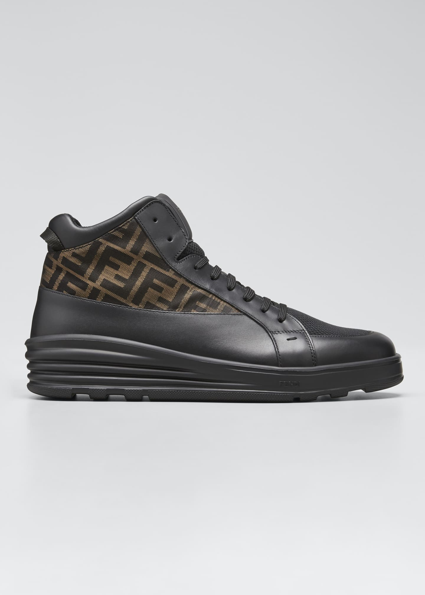 Image 1 of 5: Men's High-Top FF Leather Platform Sneakers