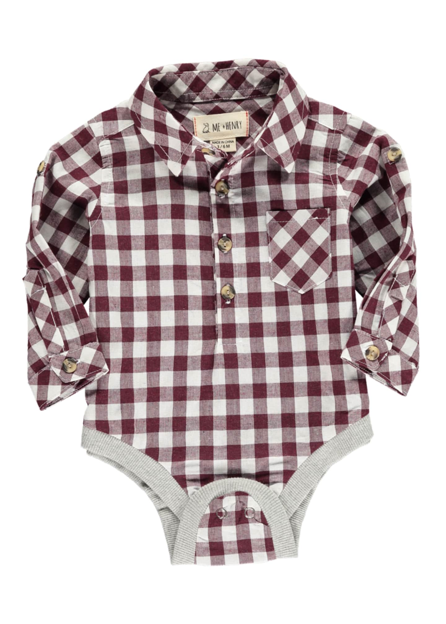 Me & Henry Plaid Woven Bodysuit w/ Children's