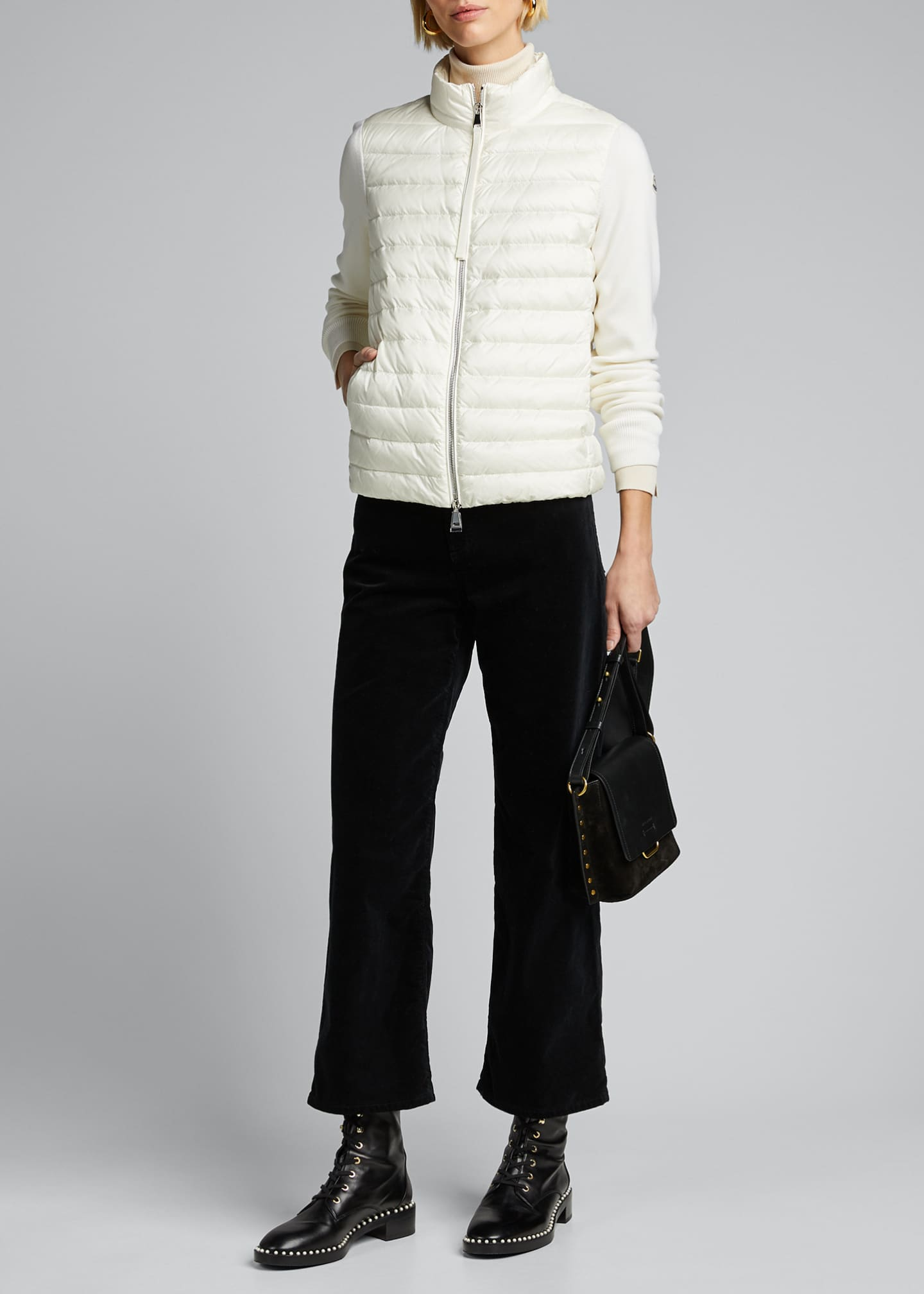 Moncler Embroidered Down-Knit Combo Sweater
